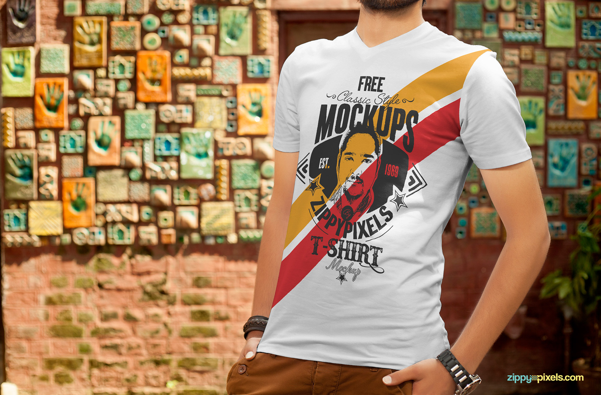 Free t-shirt design mockup with a professional model.