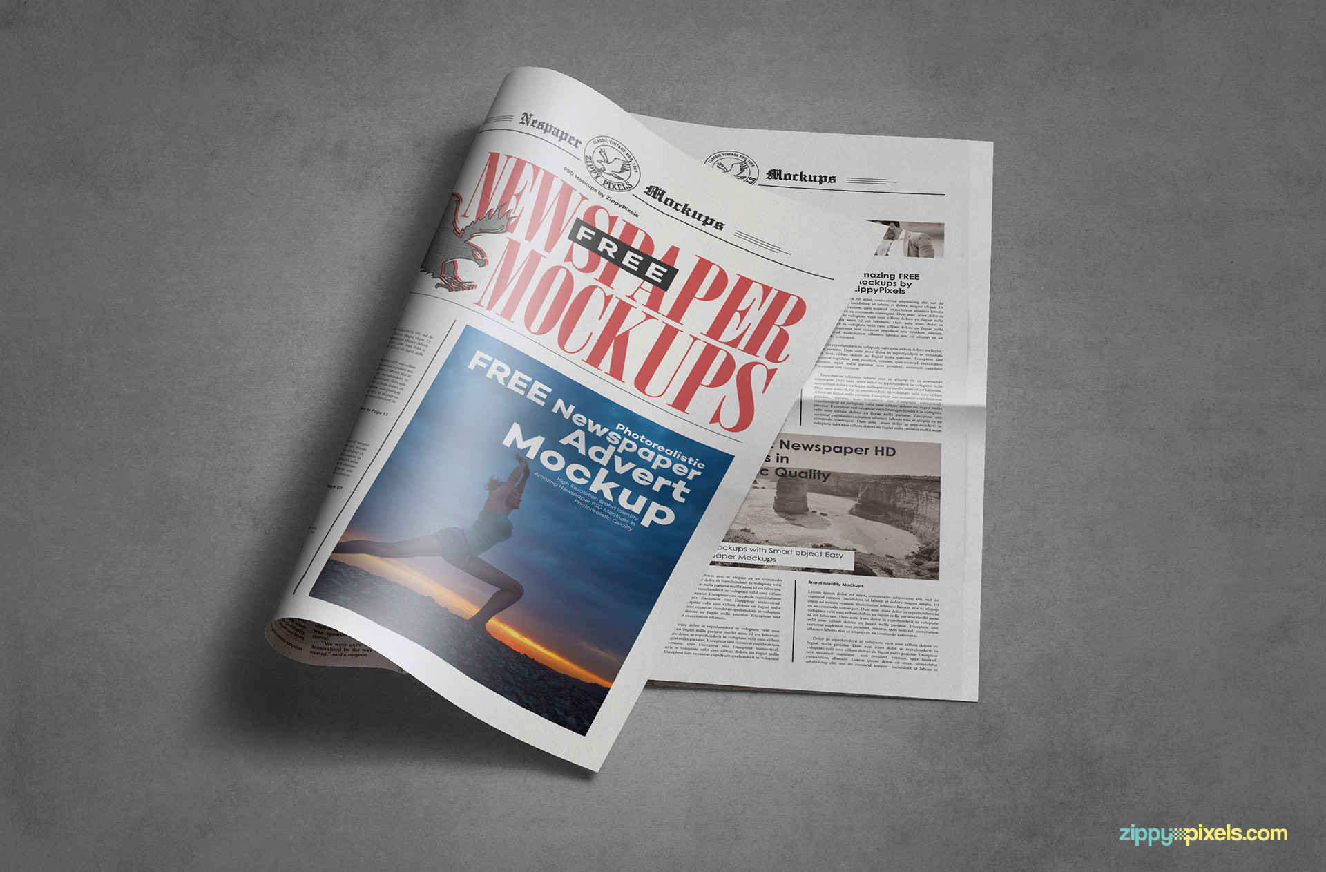 Free tabloid newspaper mockup on the grayscale.