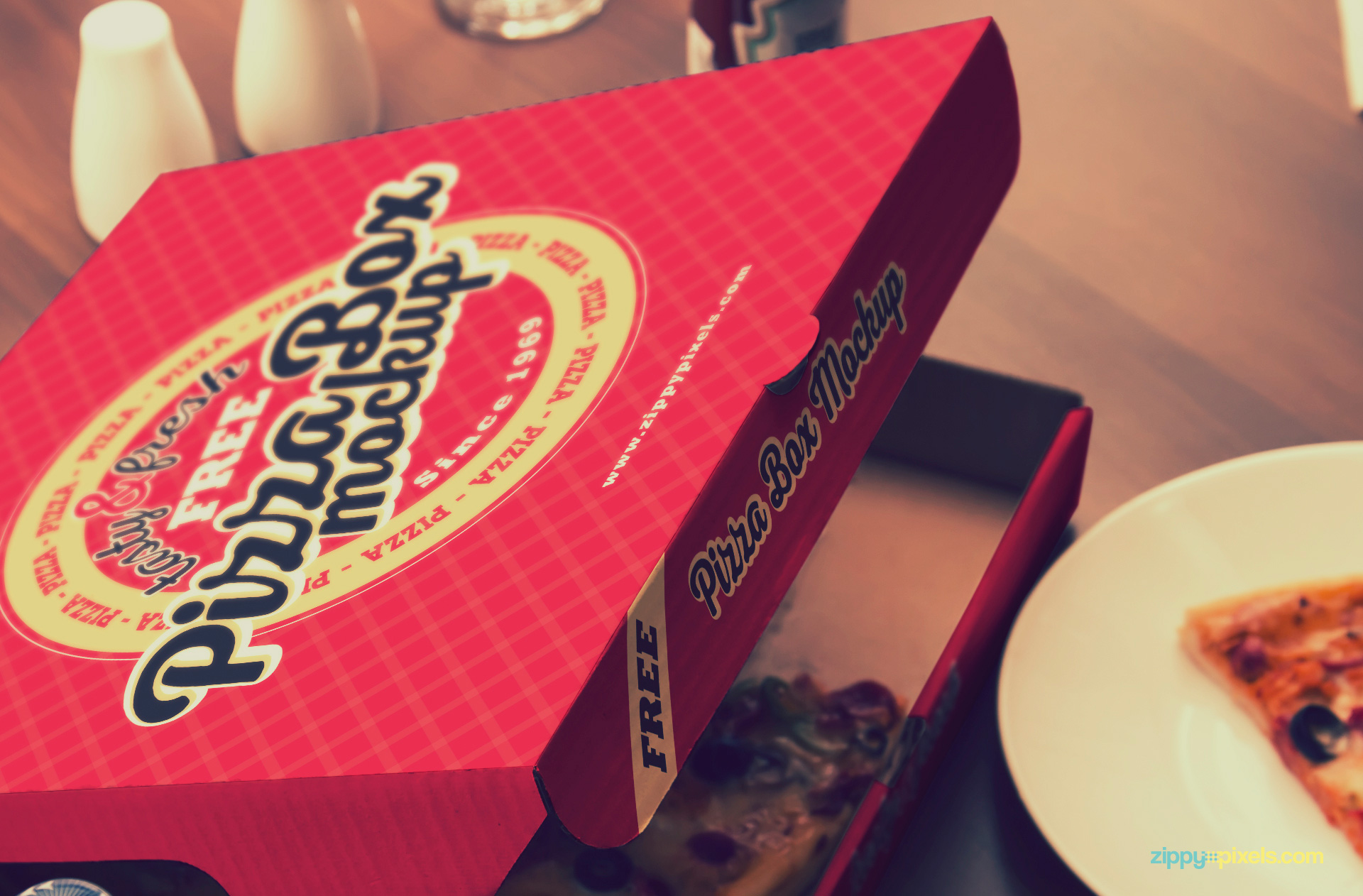 Use Adobe Photoshop to edit the top and side of the pizza box.