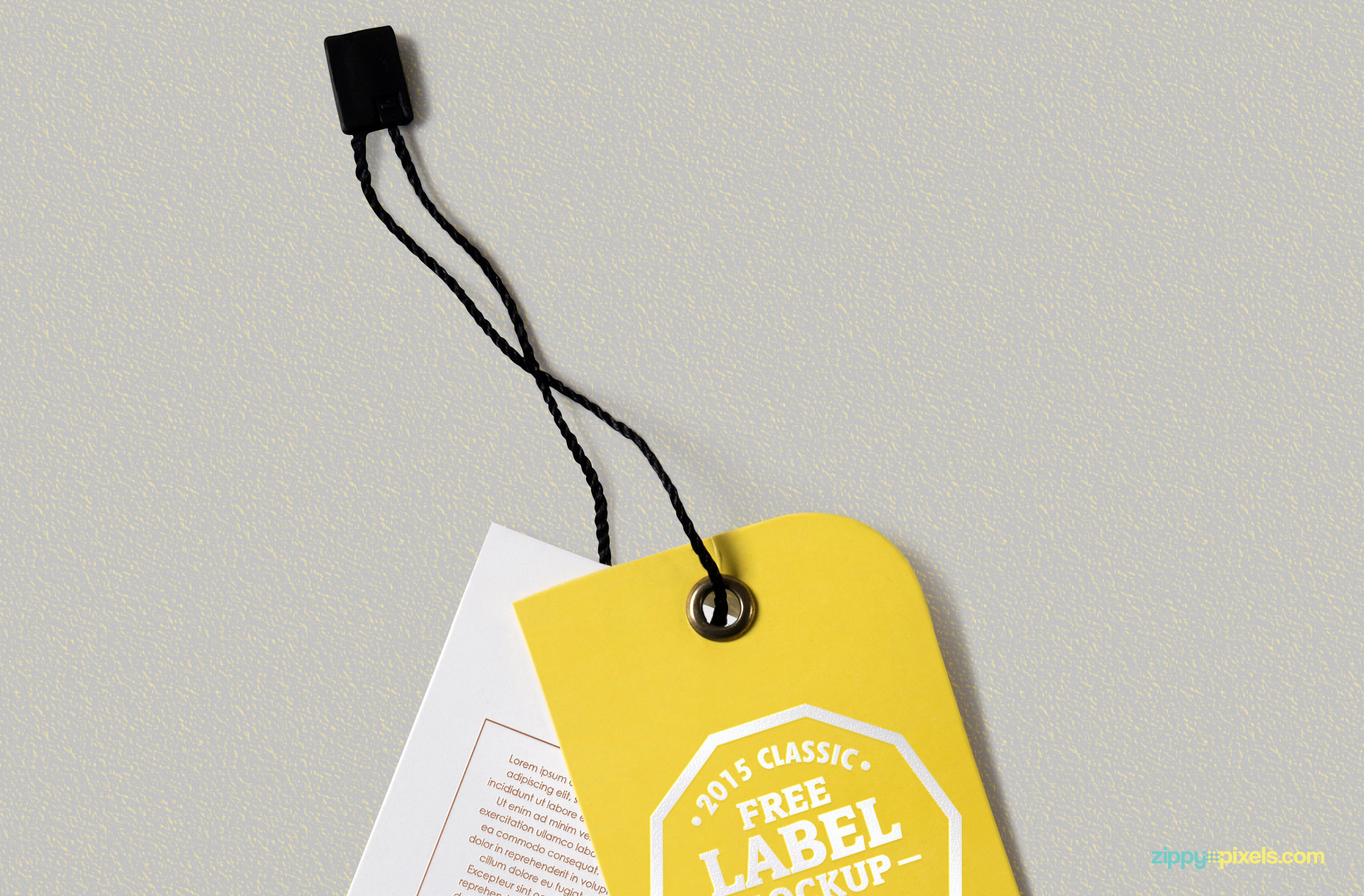 Metal punch hole and thread string of this tag mockup.
