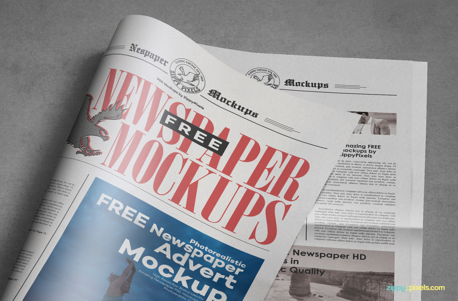 You can use this tabloid newspaper mockup to present your ad designs.