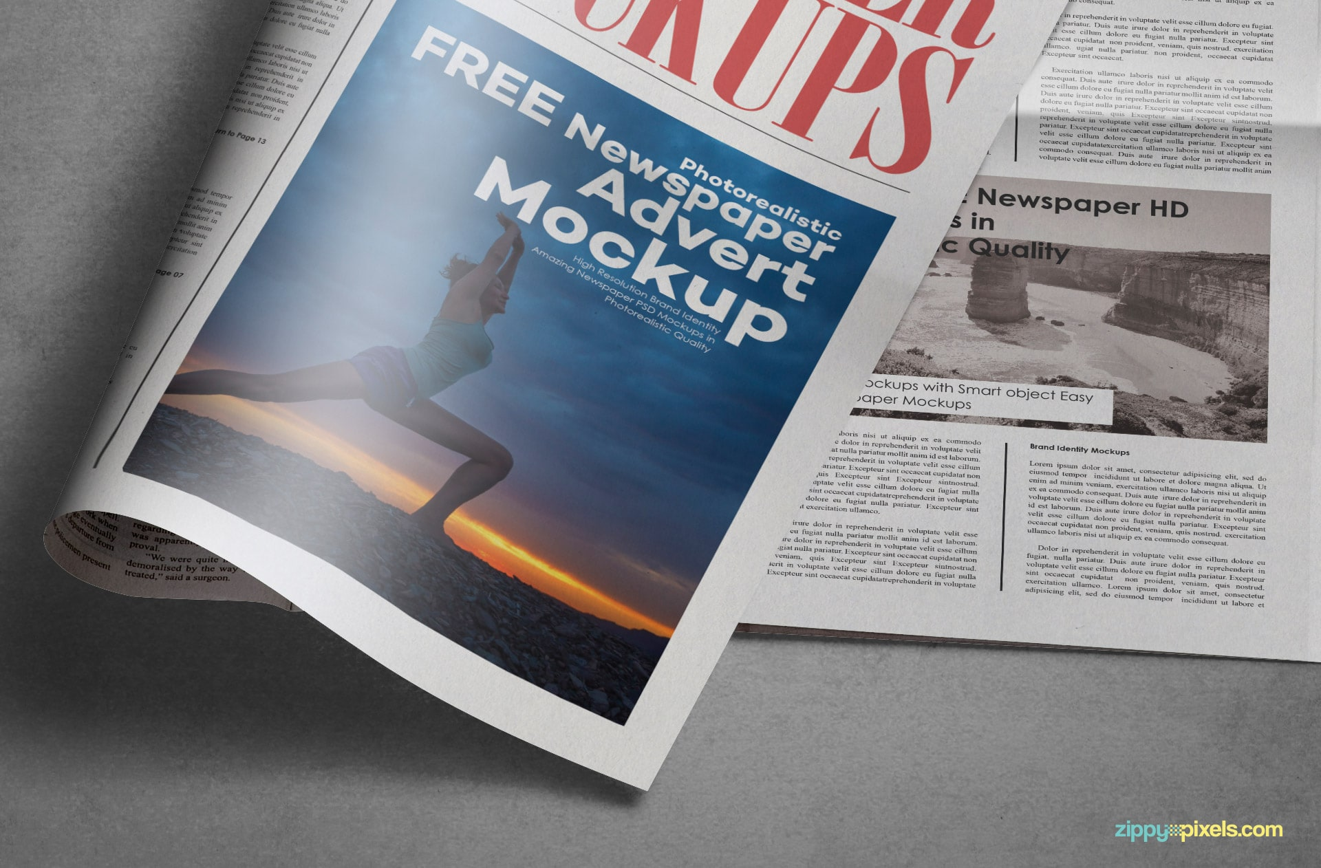 The Intelligent smart object of this tabloid newspaper mockup allows you to place in your design.