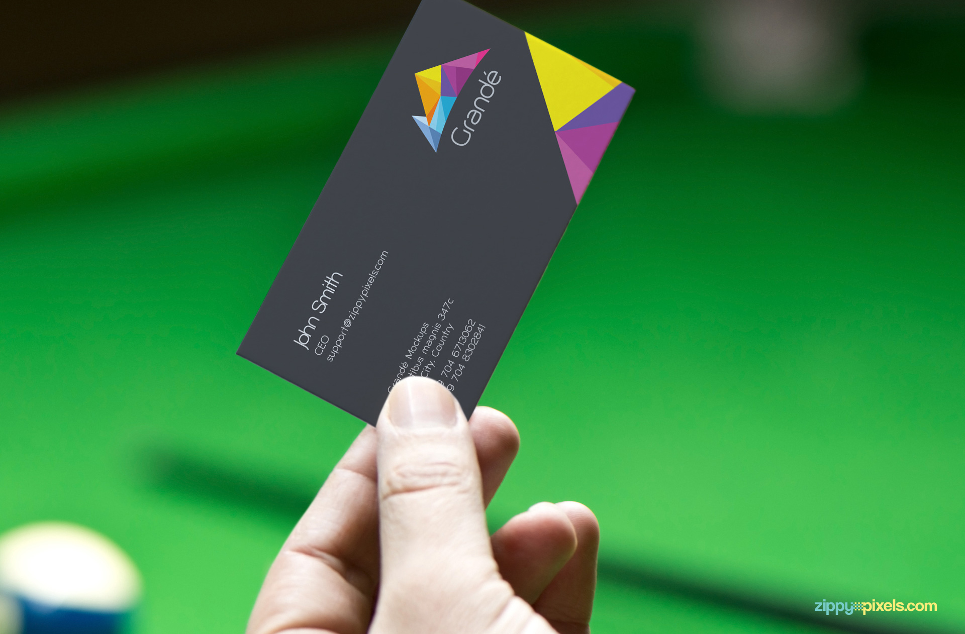 Customizable visiting card holding in a hand.