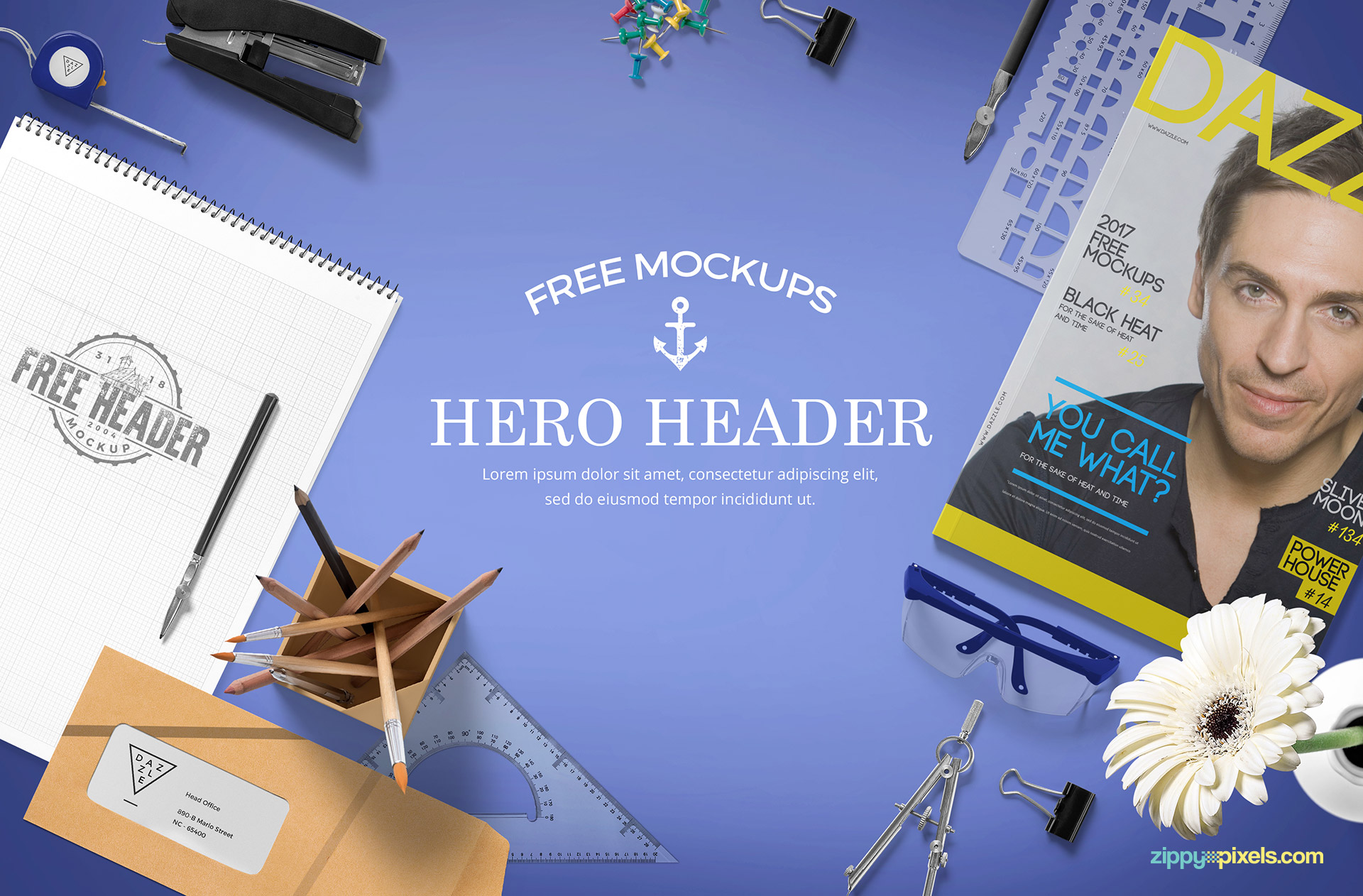 Fully customizable website hero images mockup.