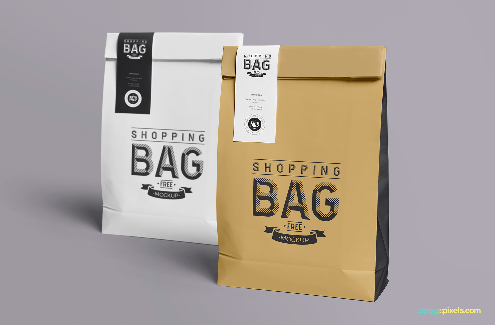 Free paper bag mock up to show different shopping bag designs.