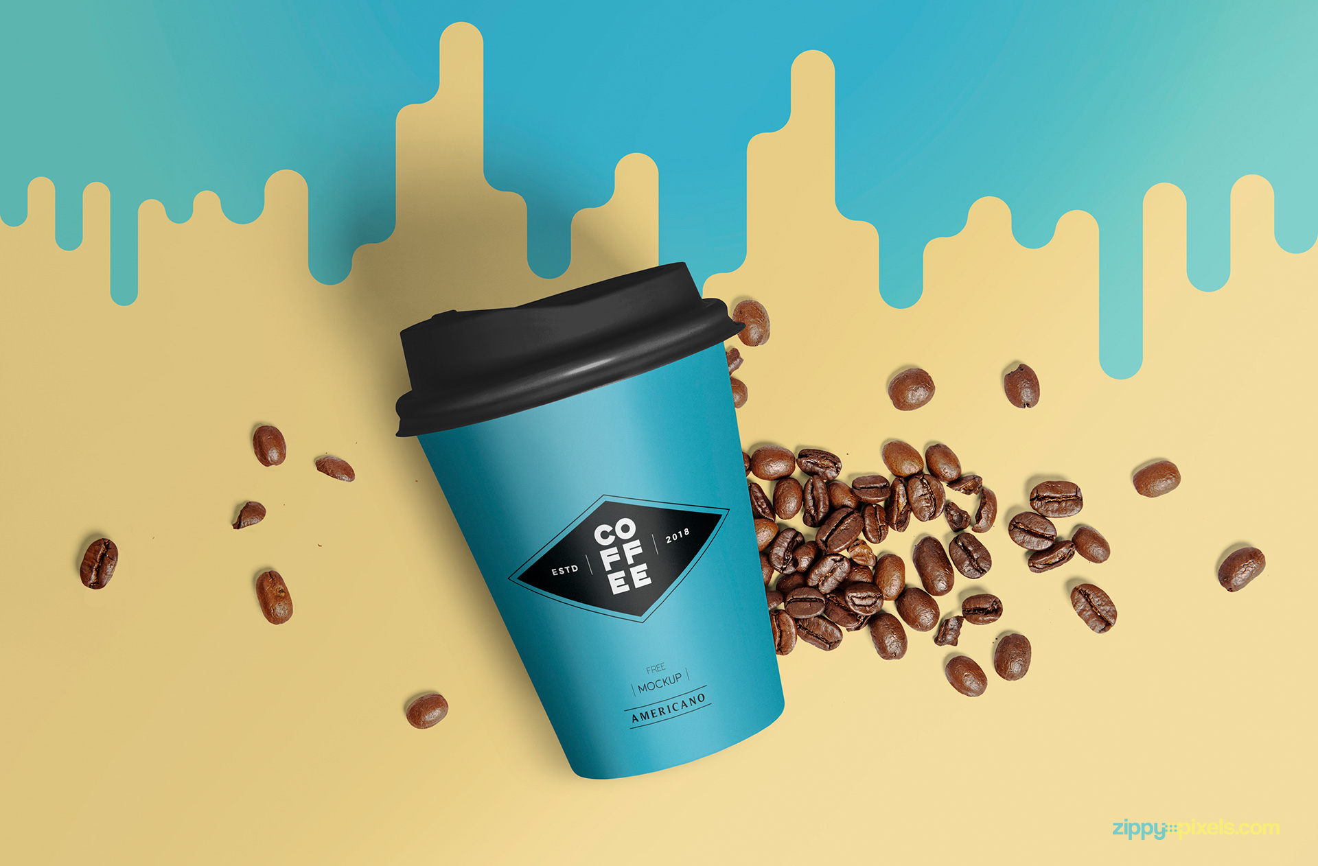 Splash background behind paper cup included in paper cup mockup PSD.