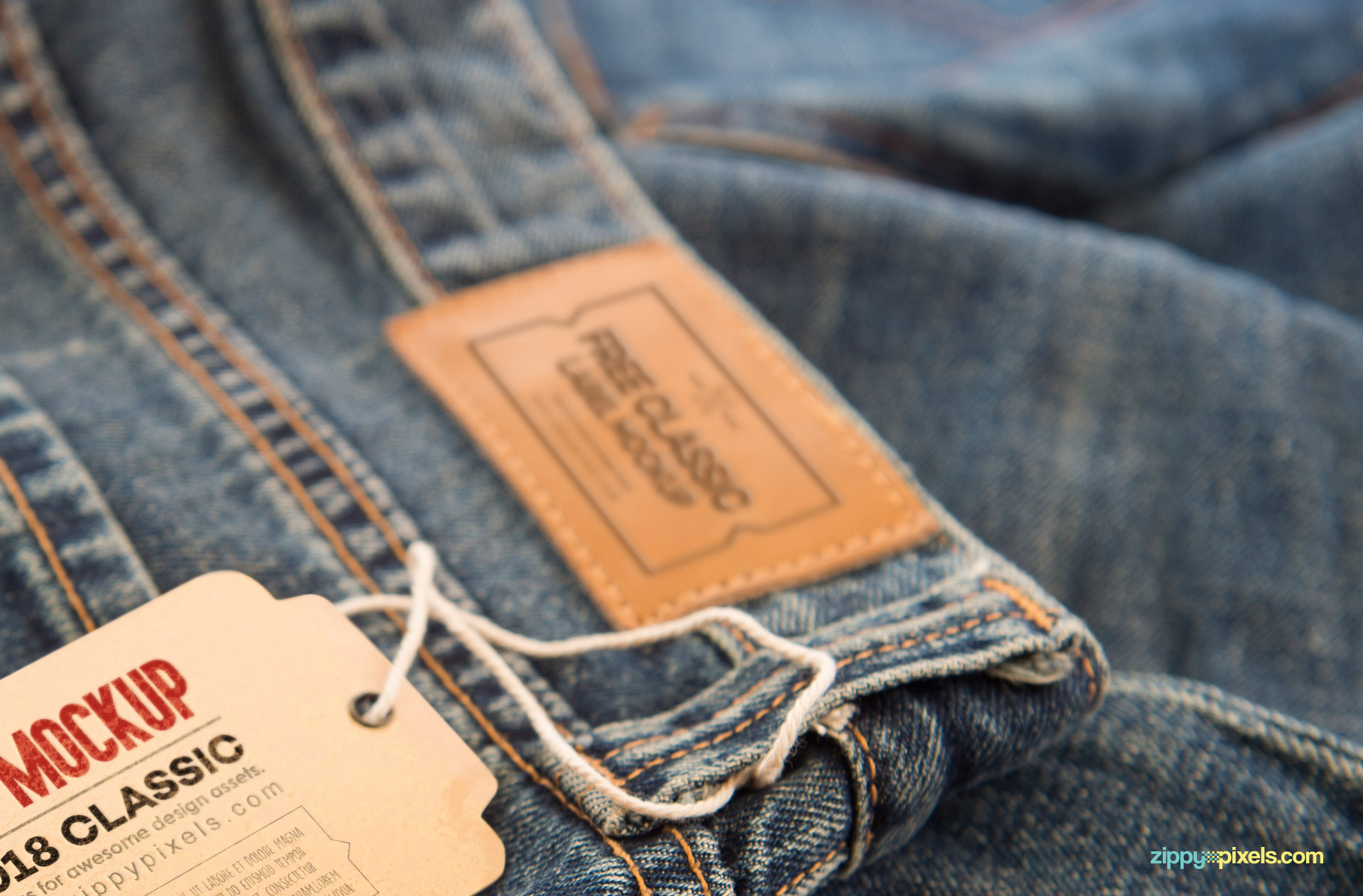 Blur preview of the jeans label.
