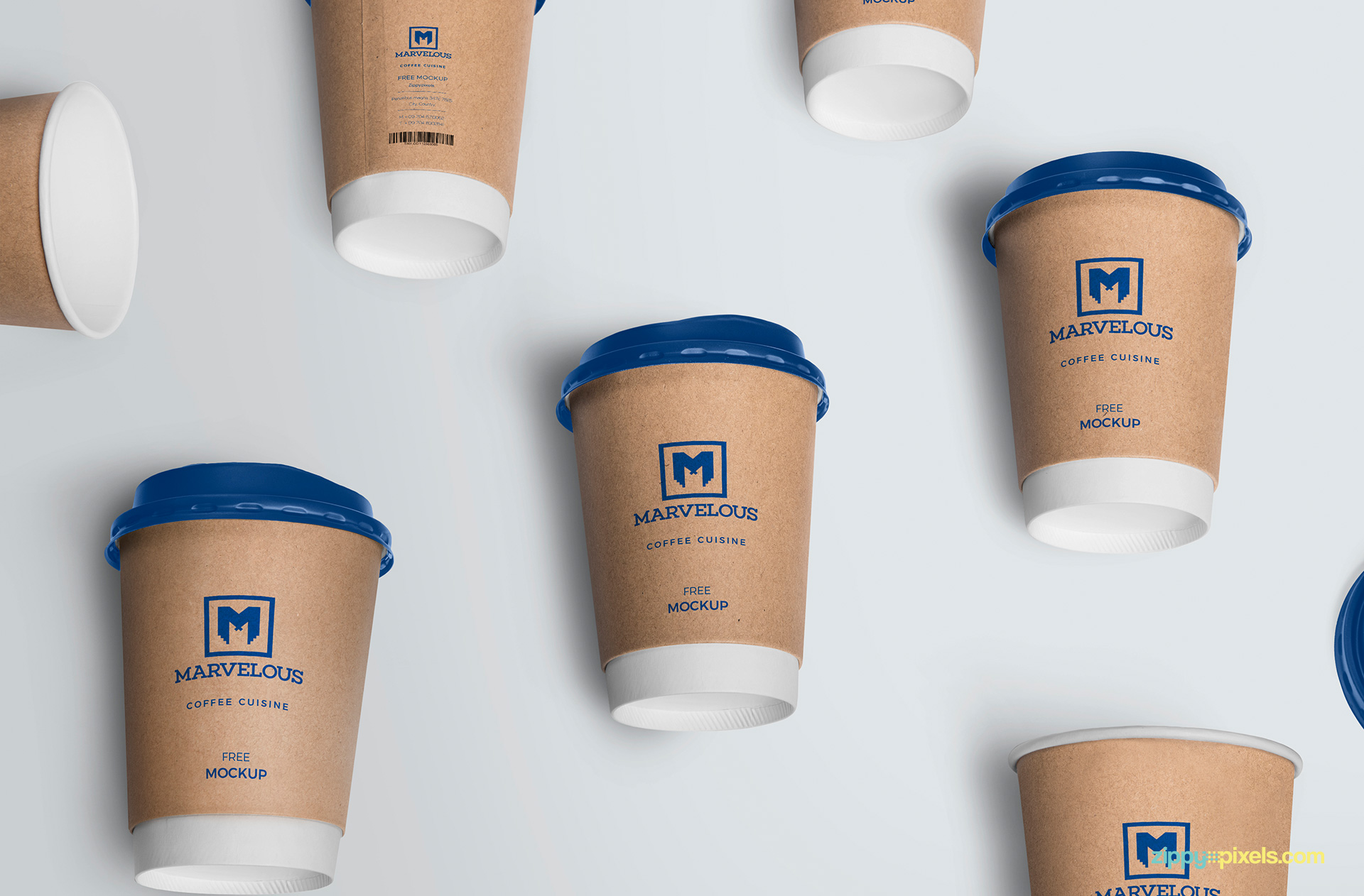 Fully customizable coffee cup mockup free PSD.