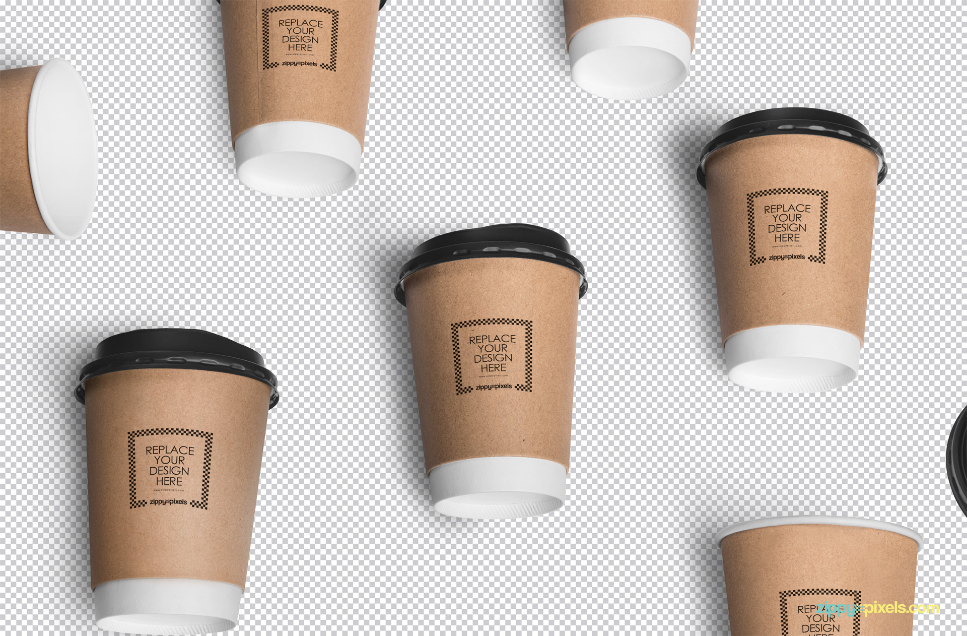 Use smart object to add your designs in this coffee cup mockup scene.