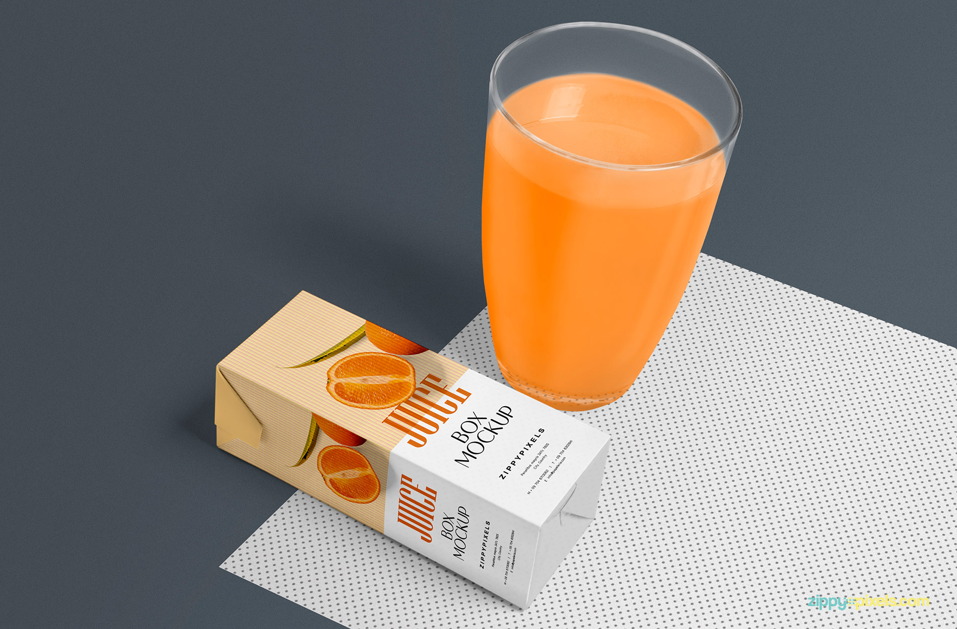 Customizable mat and background under the orange juice box and glass.