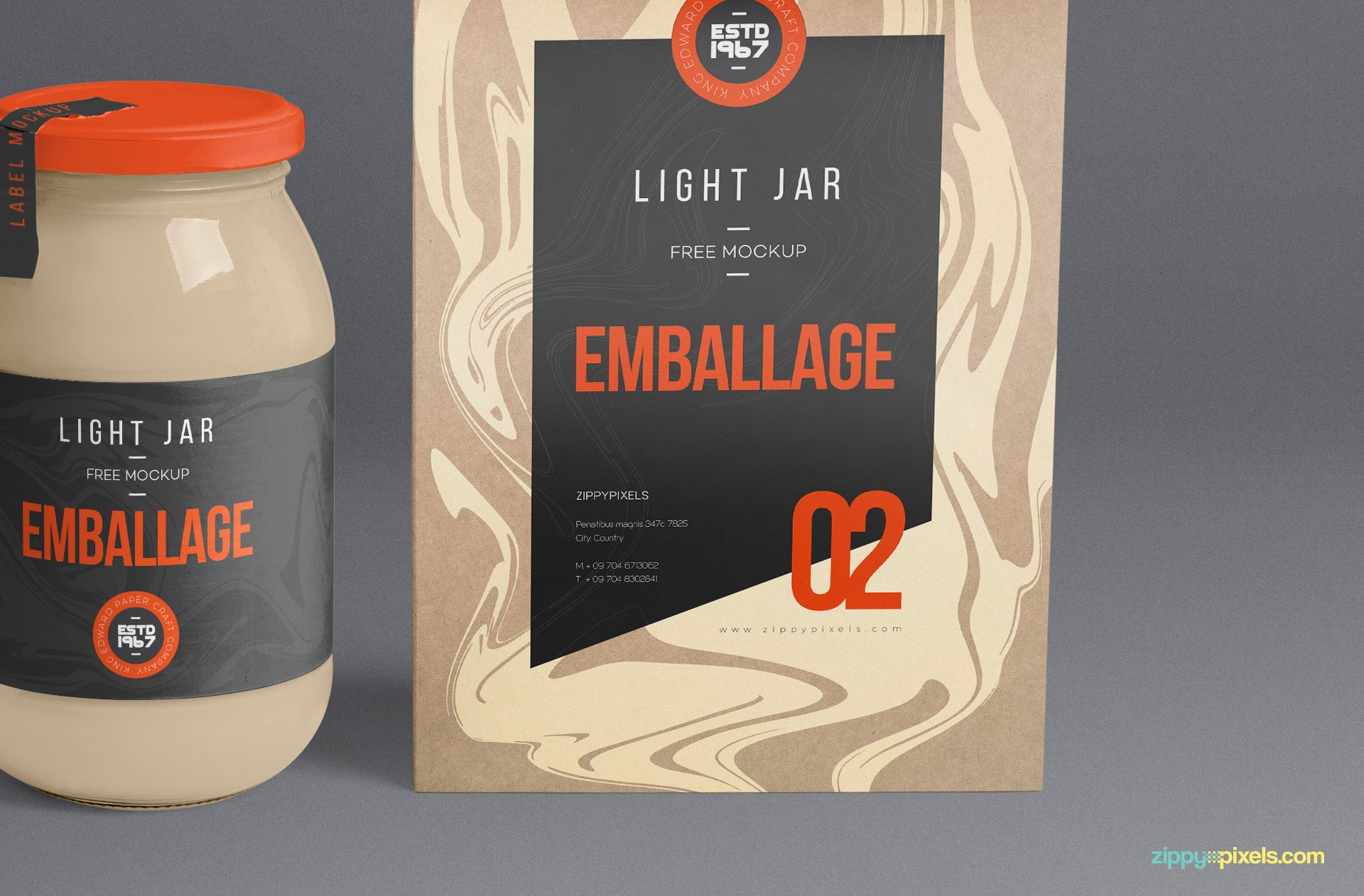 The glass jar and packaging bag both have separate smart objects for design insertion.
