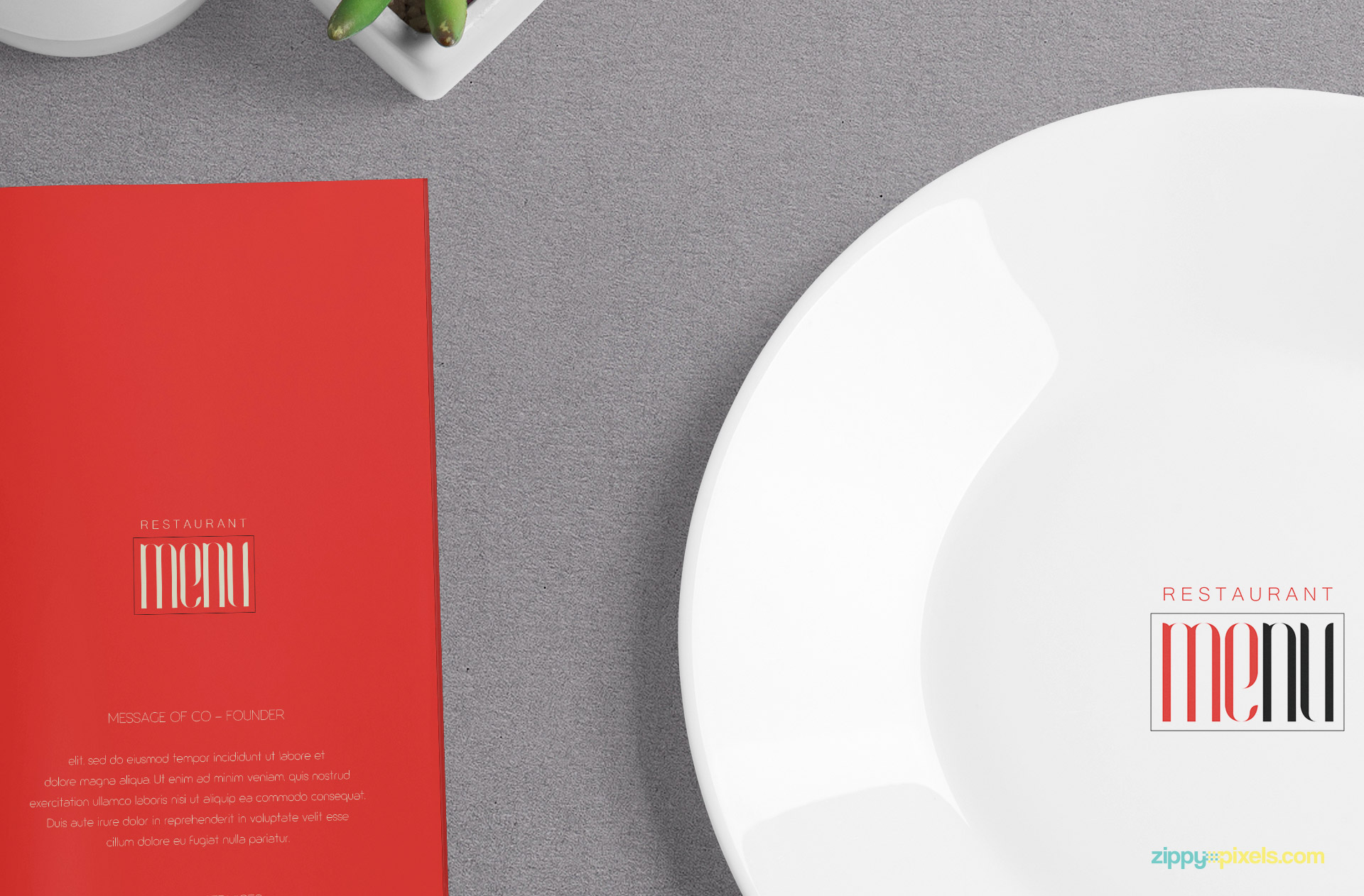 You can put any design on this menu card and plate.