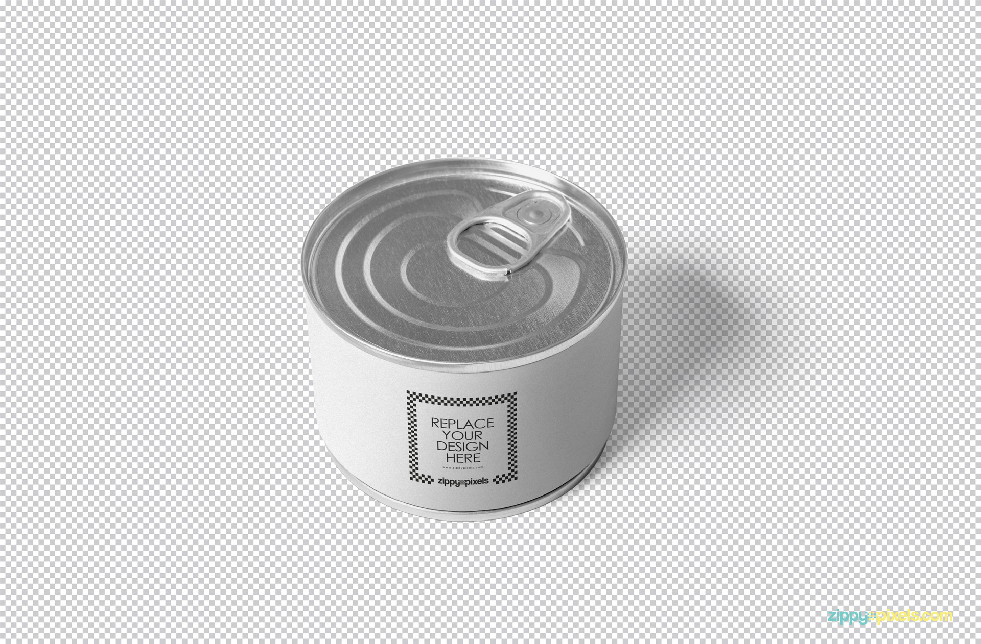 Editable PSD of the tin packaging mockup.