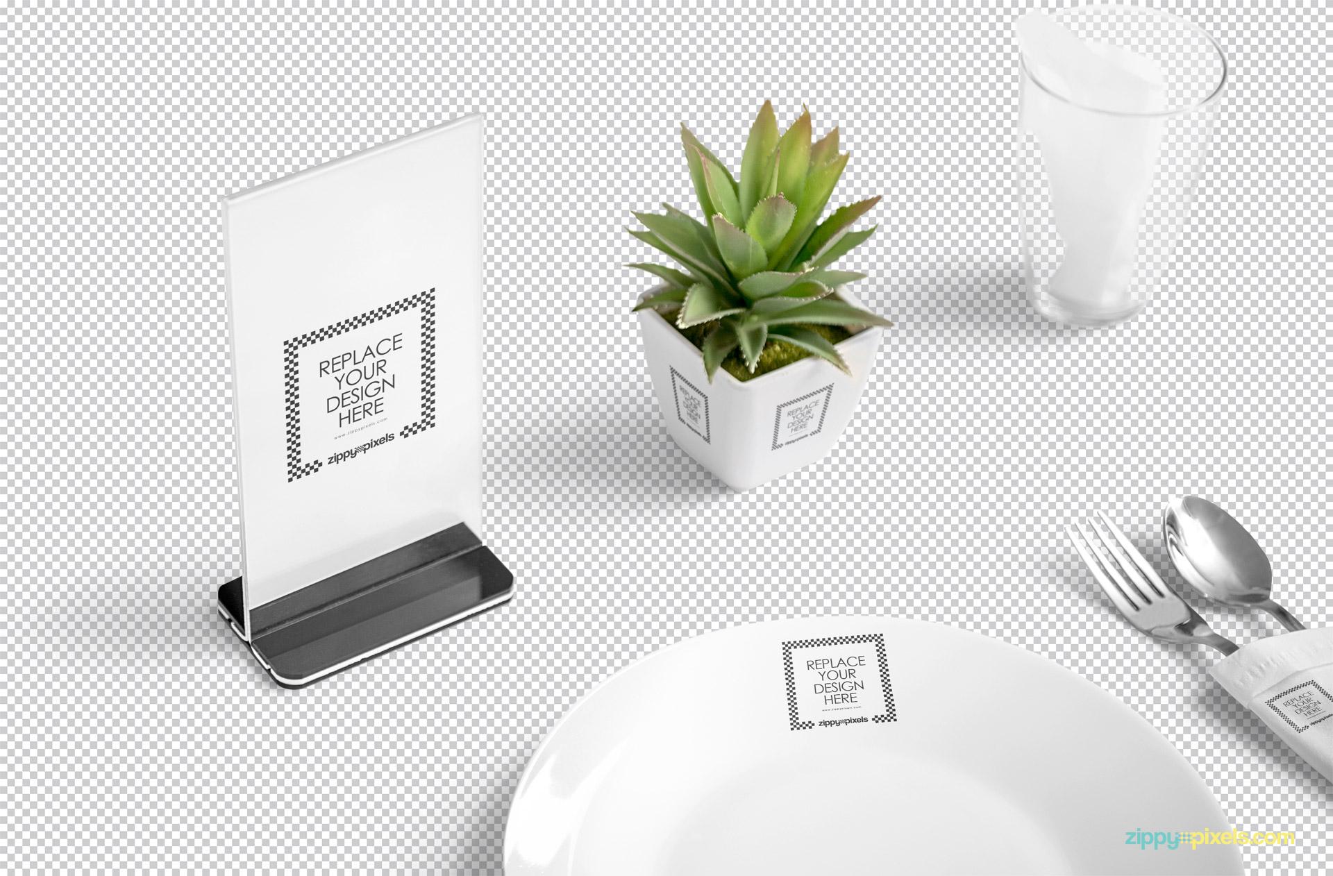 PSD of the table menu mockup scene.
