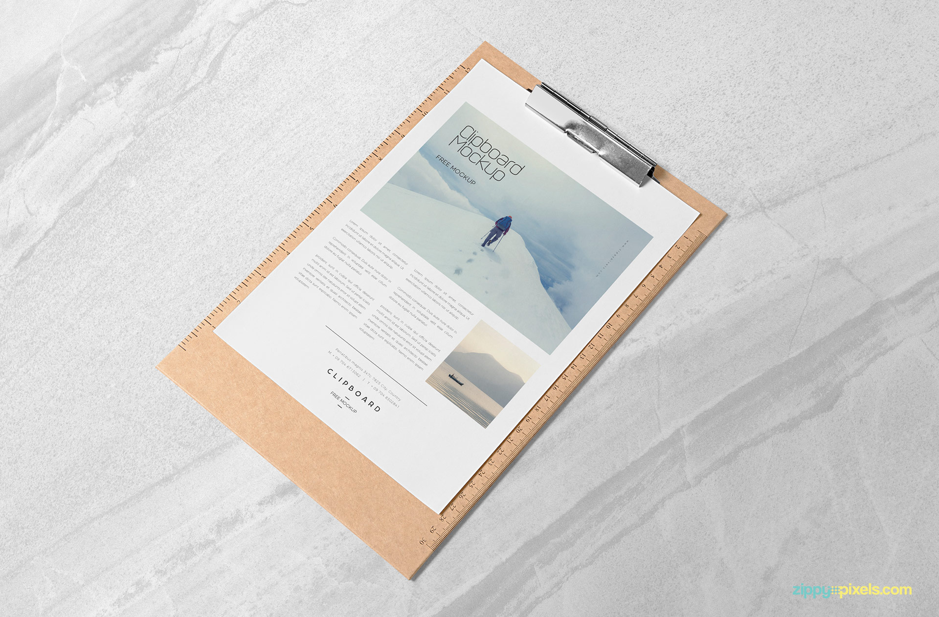Free A4 paper mock up PSD placed on marble base.