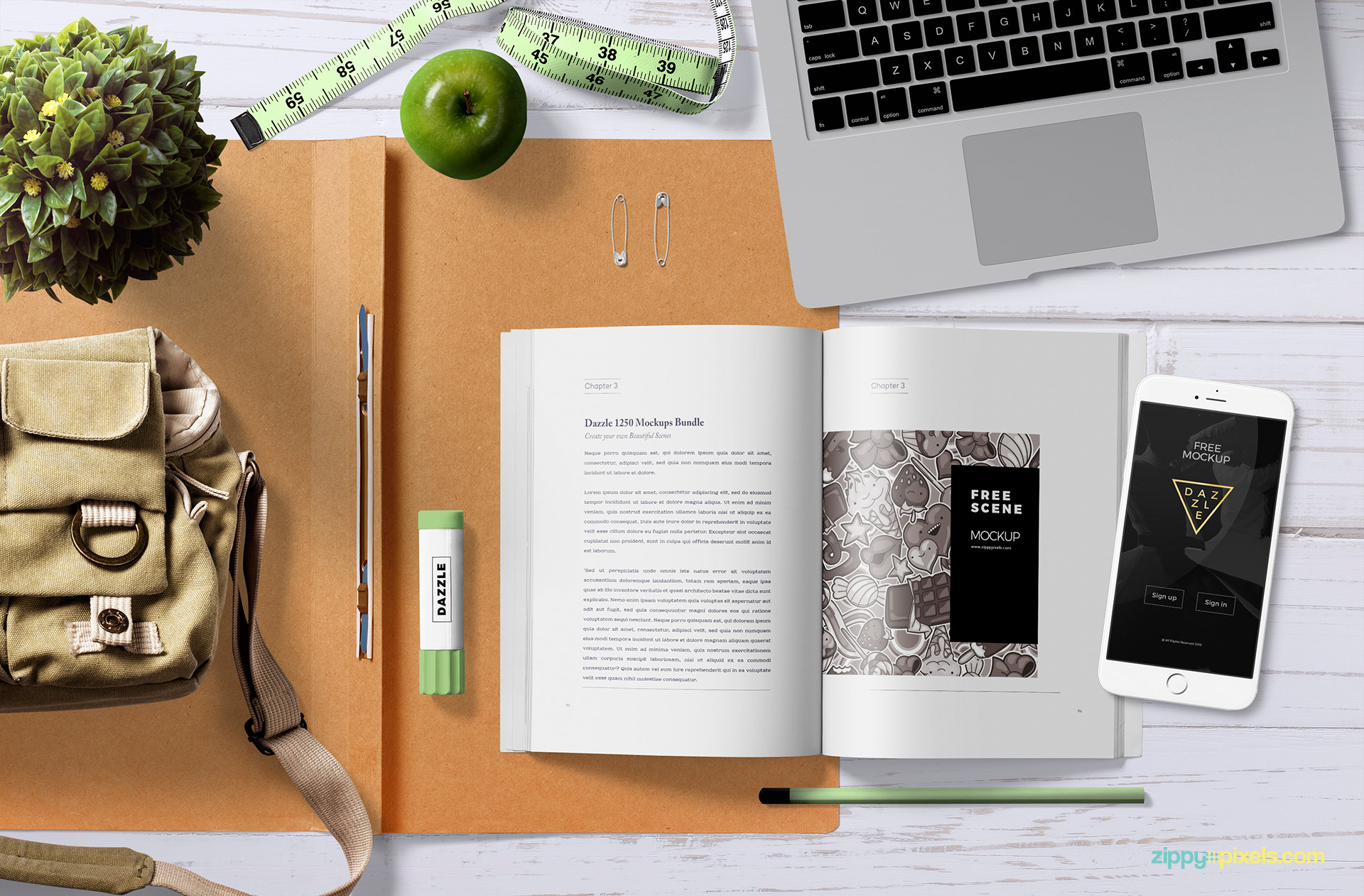 Fully customizable book mock up free scene.