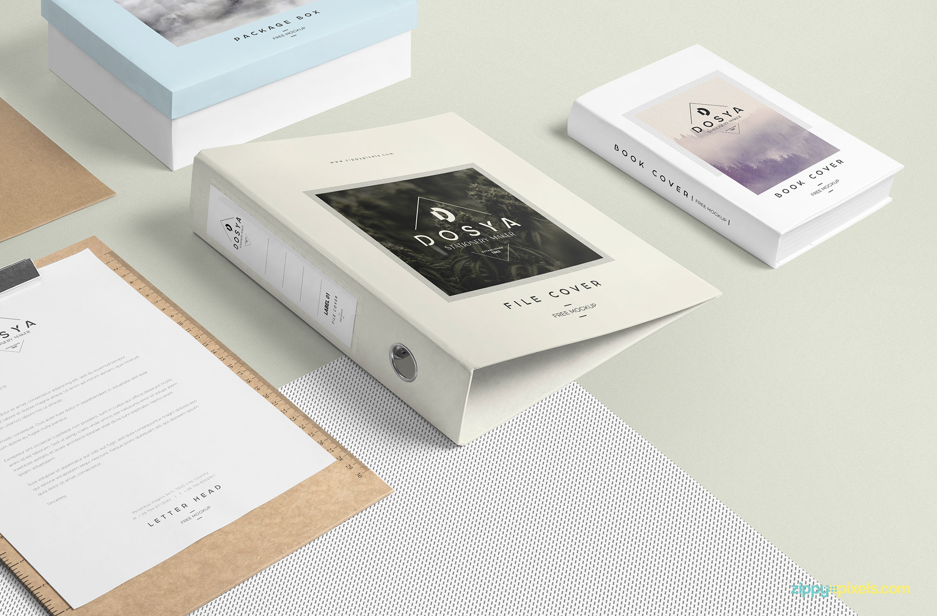 Box file mockup scene including box file, book, package box and paper on a clipboard.