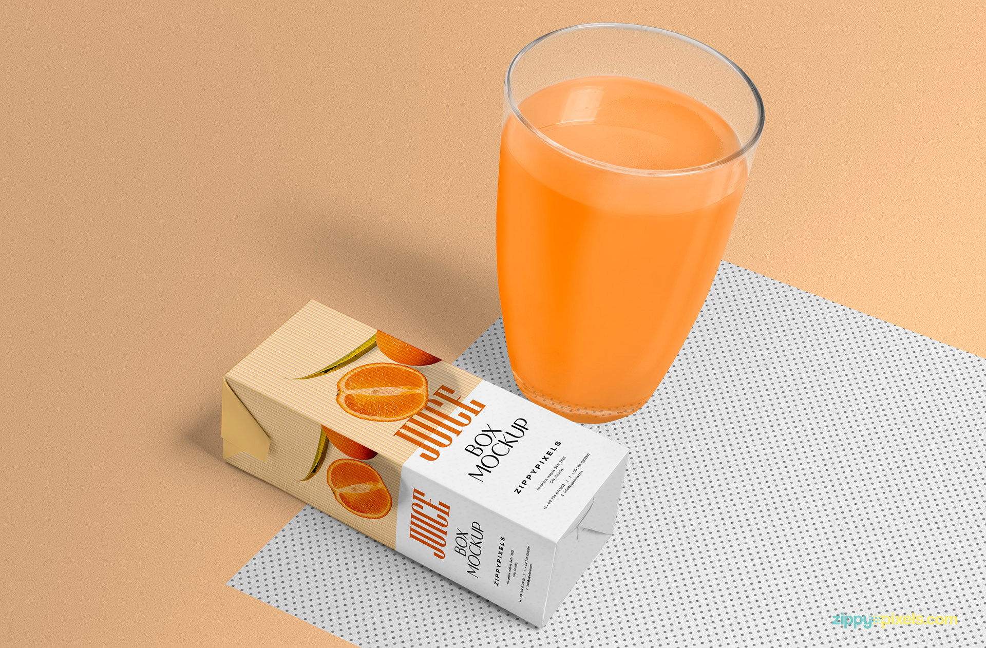 Realistic juice box with a glass of orange juice.