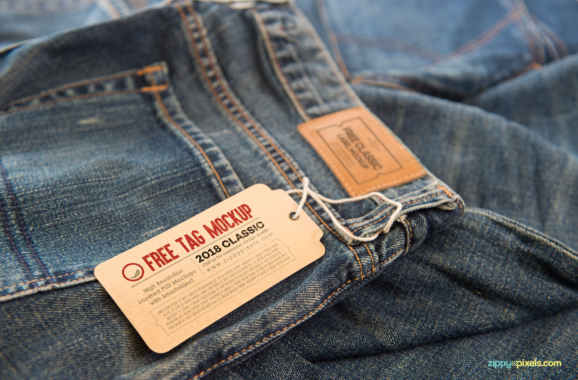 Free label mock ups on jeans.