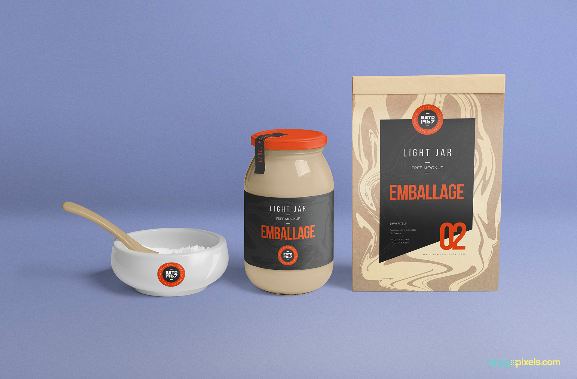 Perfect light jar mockup with customizable packaging bag and ceramic bowl.