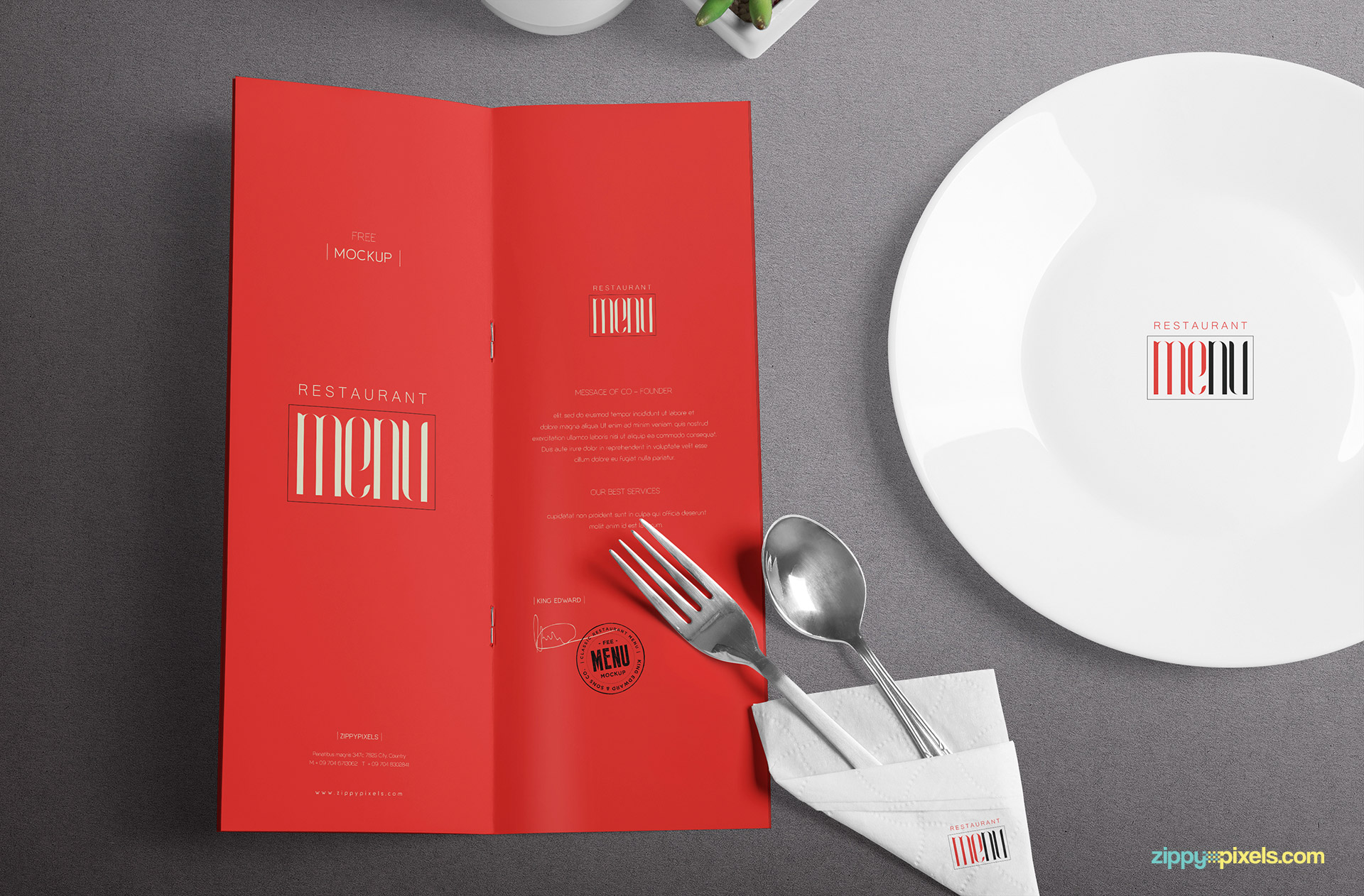 Free customizable menu mockup scene.
