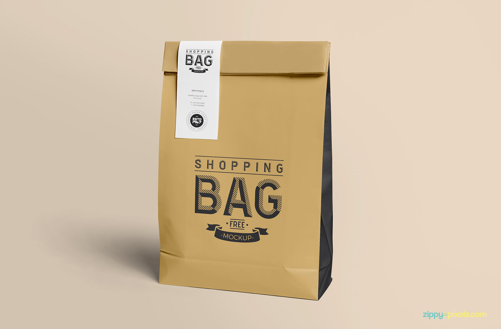 Free paper bag mock up PSD.