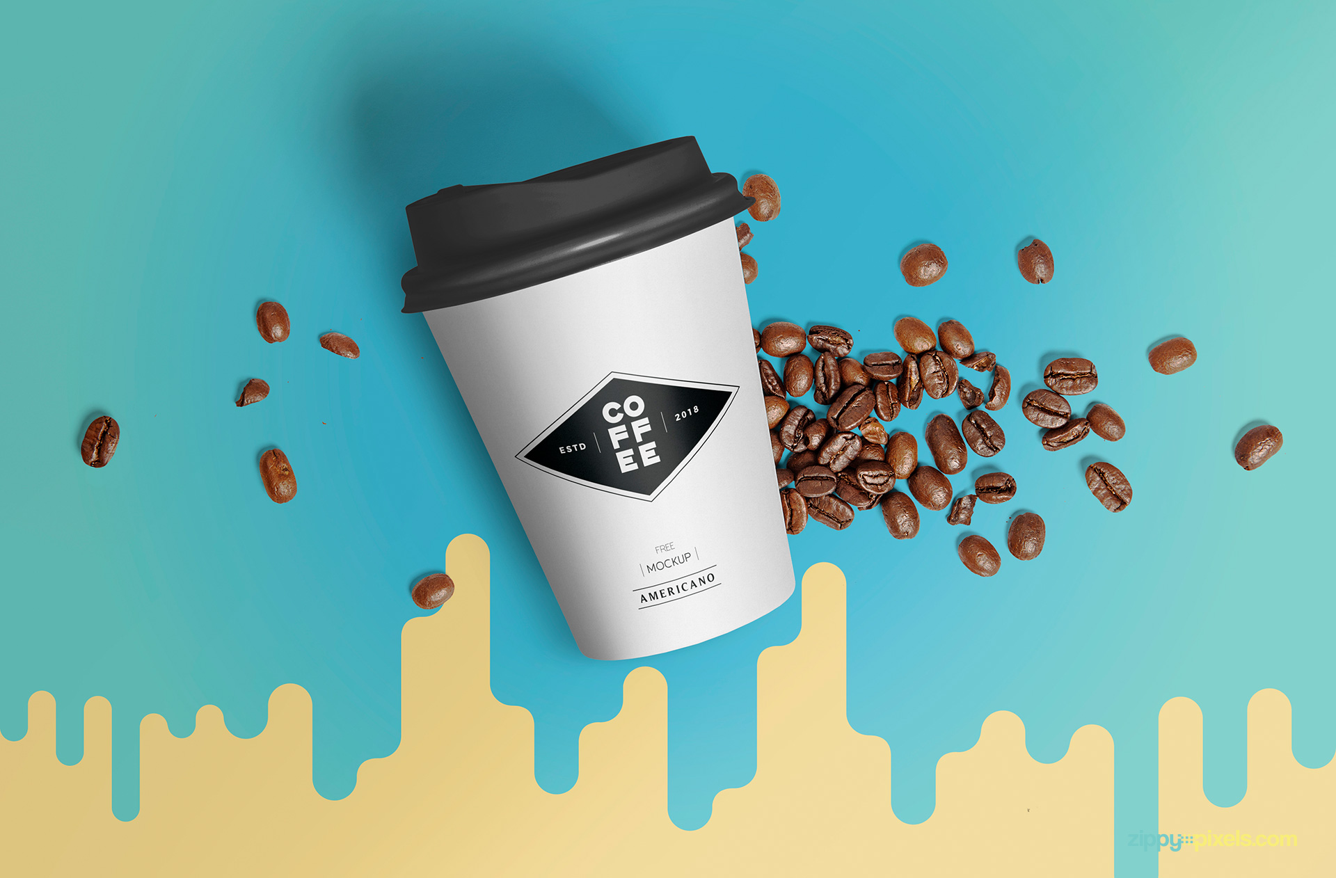 Fully customizable paper cup mockup.