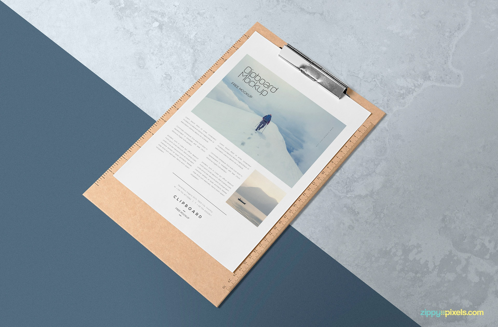 Free paper mock up with customizable clip board.