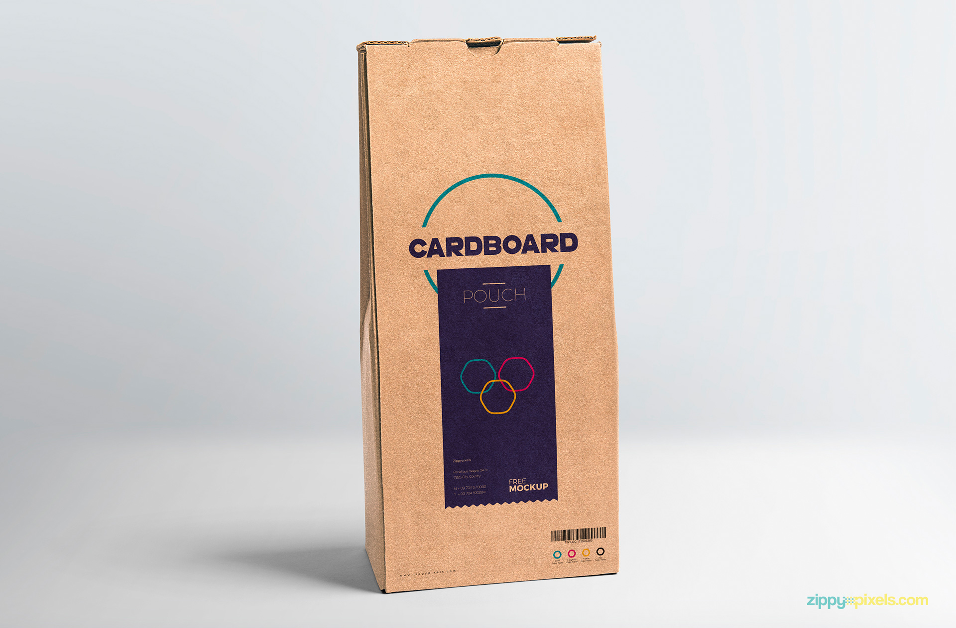Fully customizable and free pouch packaging mockup.