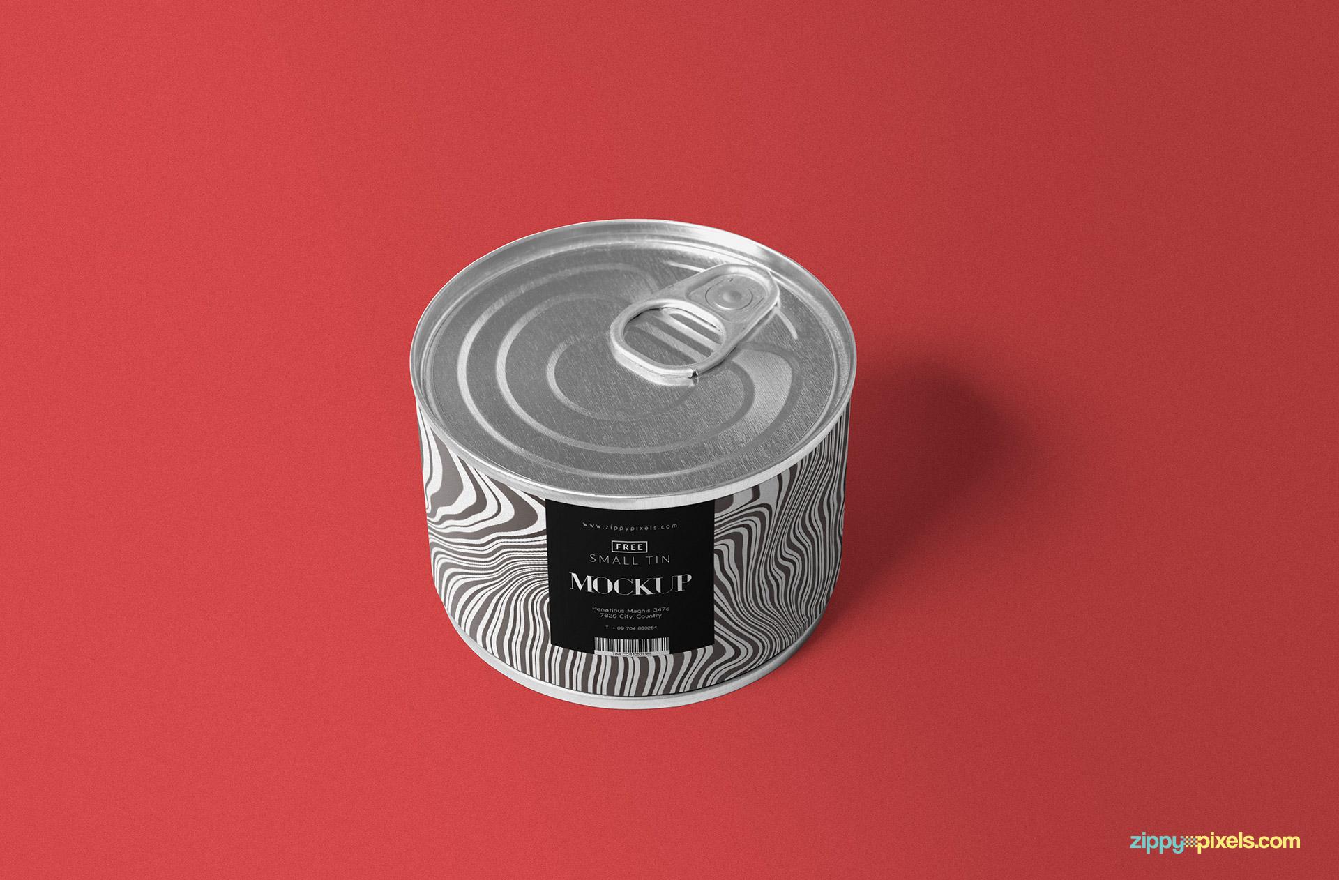 Small round tin mockup.