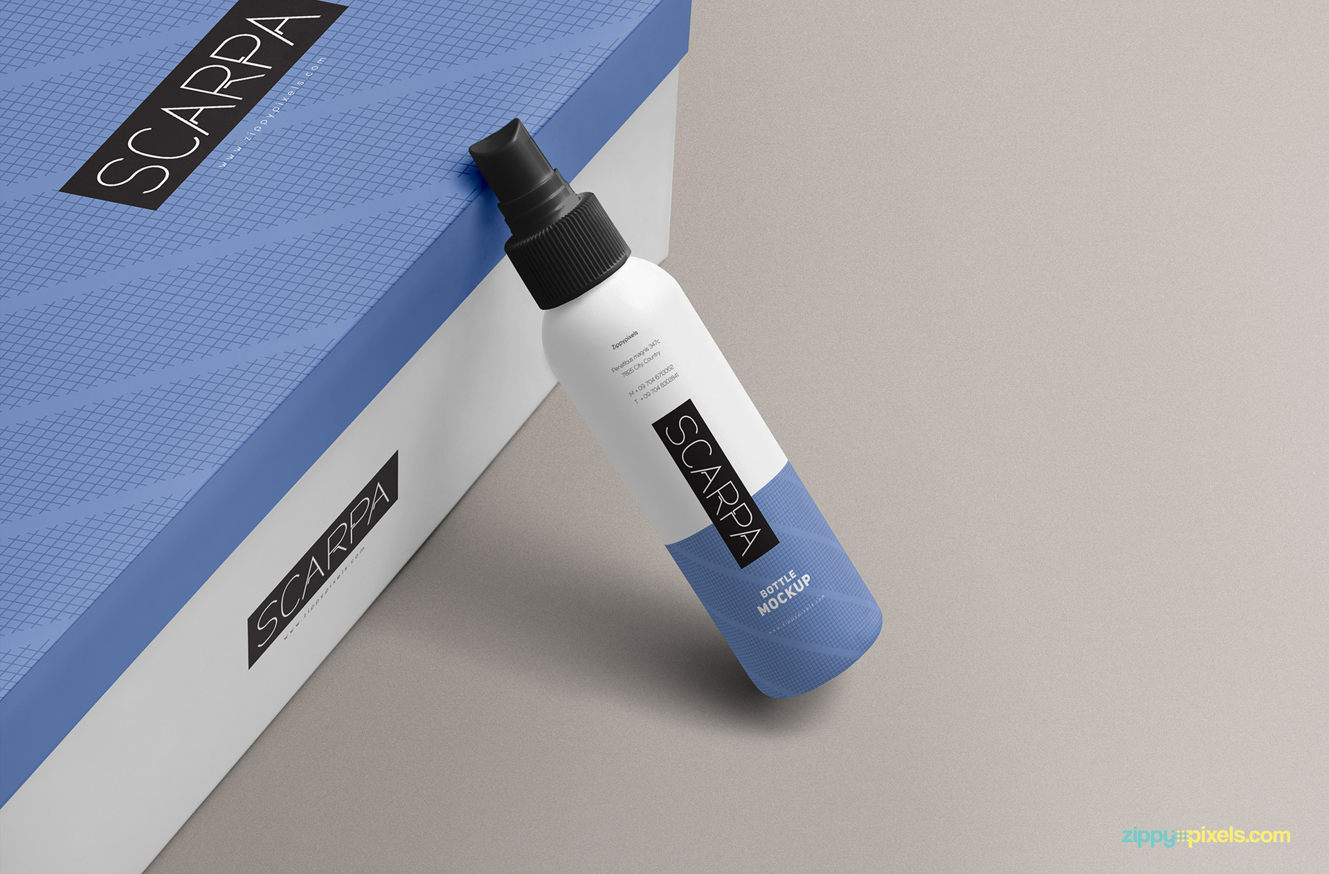 Free plastic spray bottle mockup with a box.