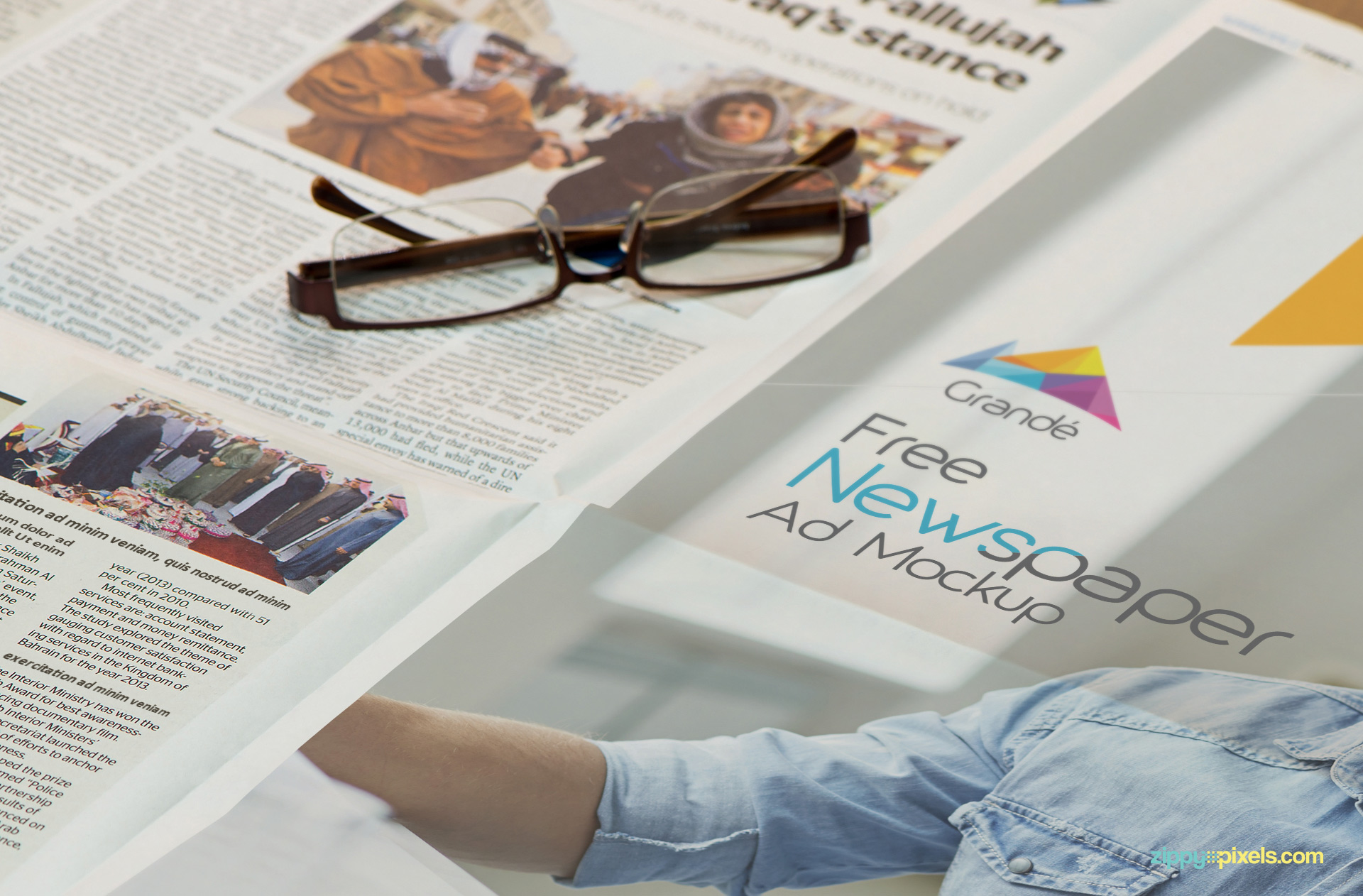 Glasses placed on newspapers mockup.