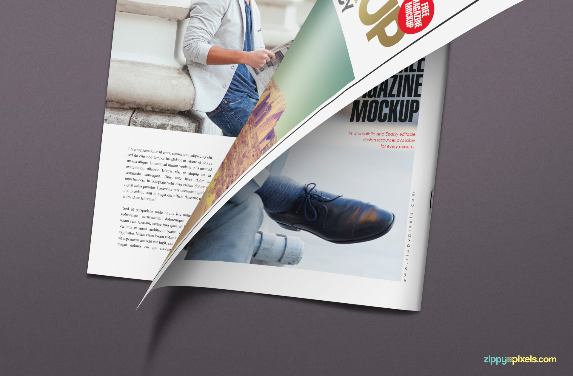 Half turned the page of the magazine mockup PSD free.