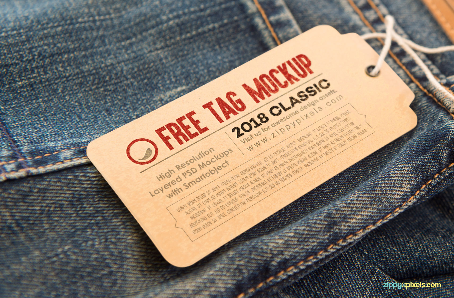 Free hang tag mock up with string.
