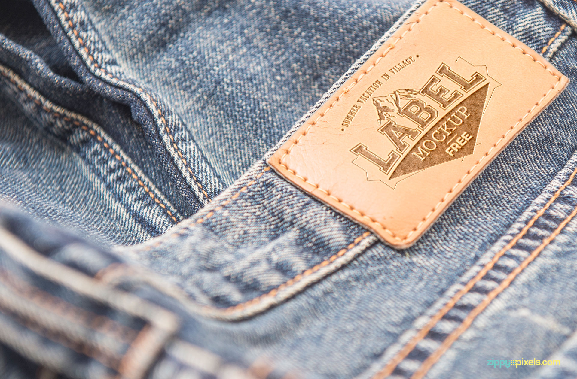 Leather material of the jeans label.