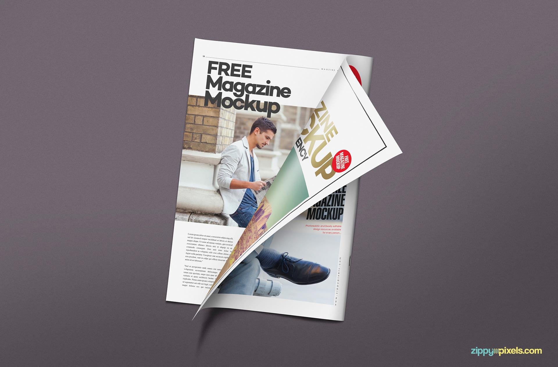 Amazingly designed magazine mockup PSD free.