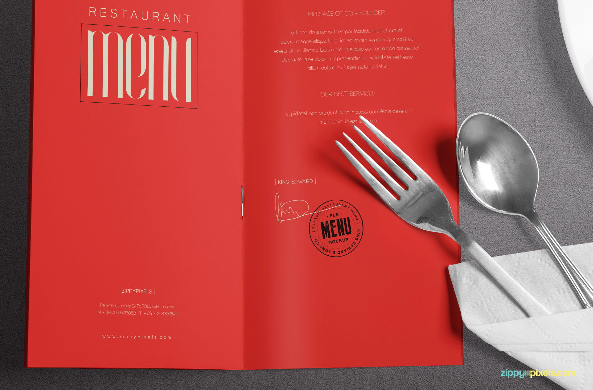 Zoom in view in of menu card and cutlery.