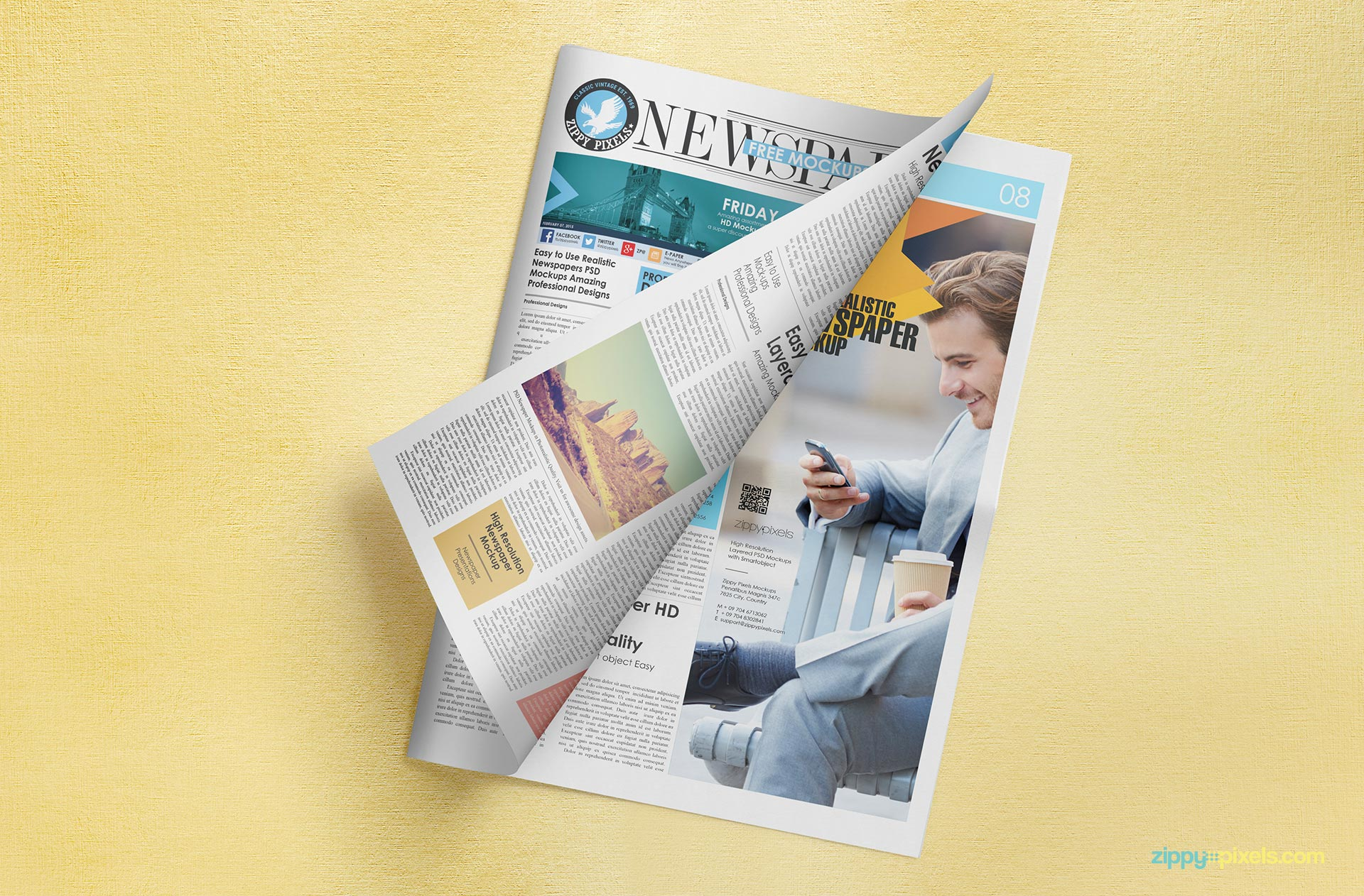 Free newspaper adverts mockup on a customizable background.