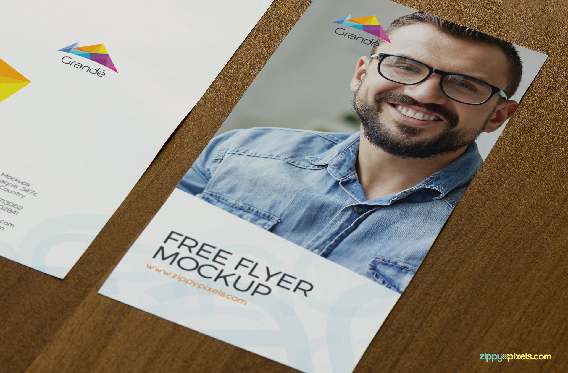 Photorealistic flyer mockup PSD by ZippyPixels.