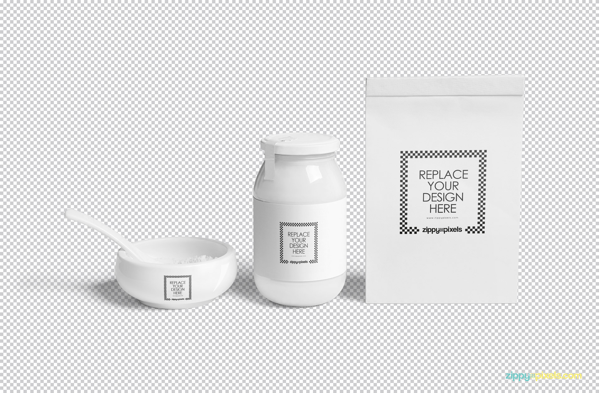 Use Adobe Photoshop to edit every single part of this free jar mockup.
