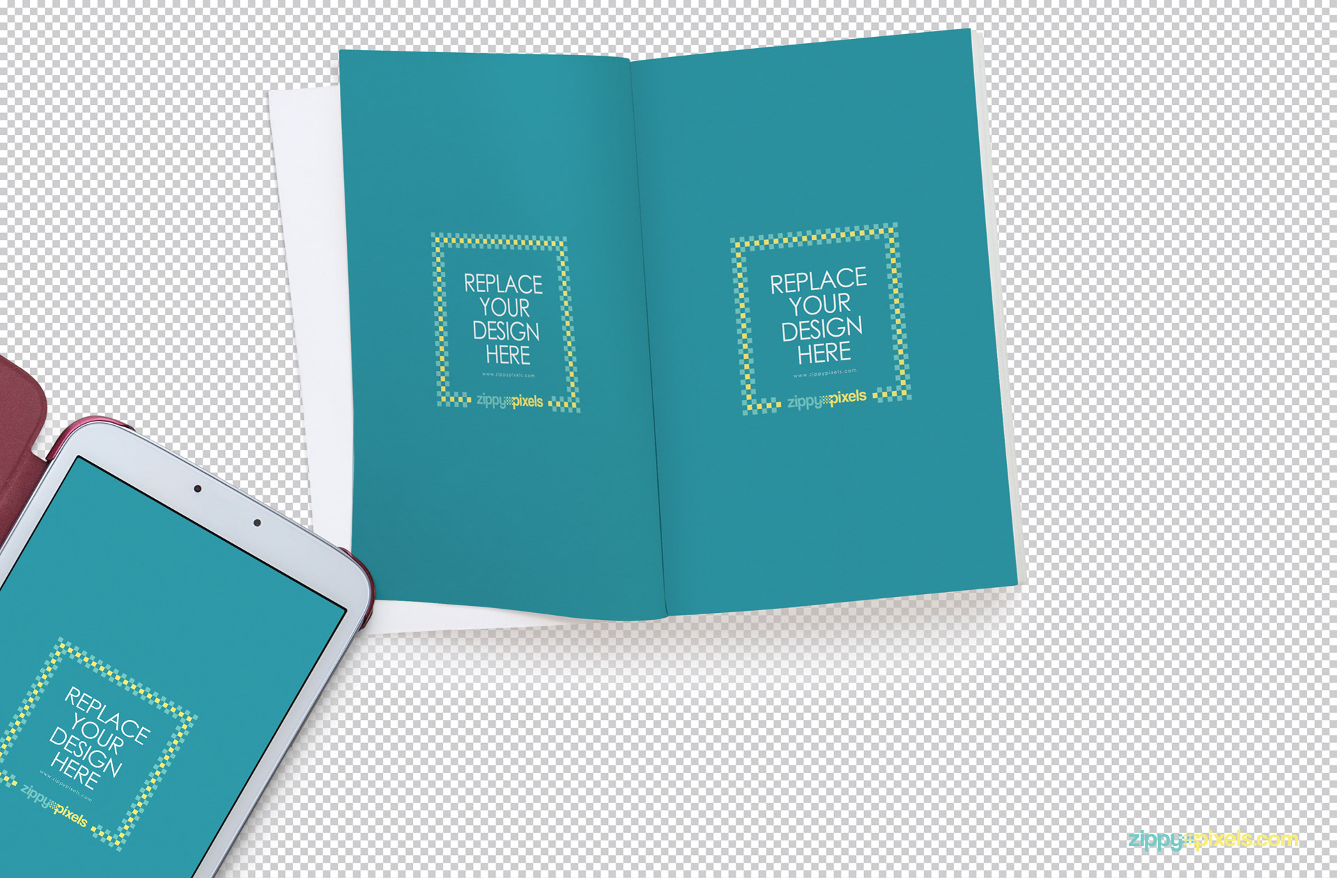 You can use Adobe Photoshop to insert your designs in this open book mockup PSD.