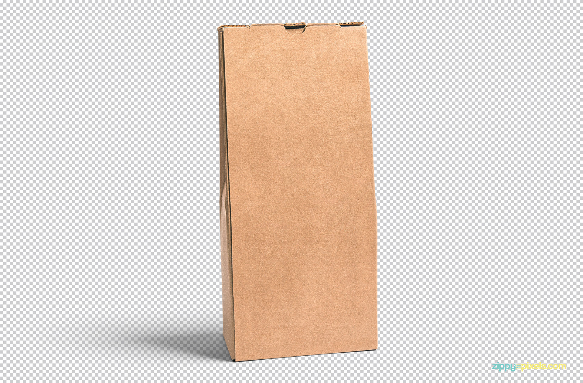 Plain cardboard pouch placed on a greyscale background.