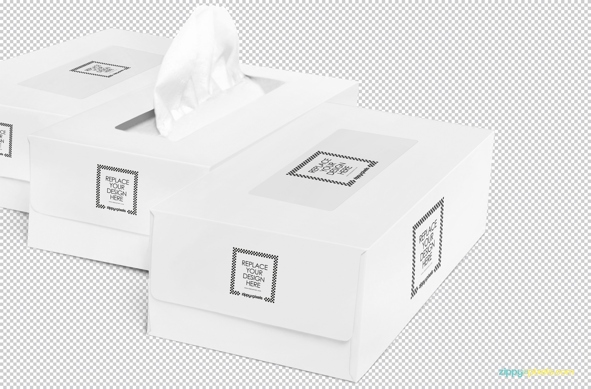 PSD of three plain white tissue boxes on the grey scale.