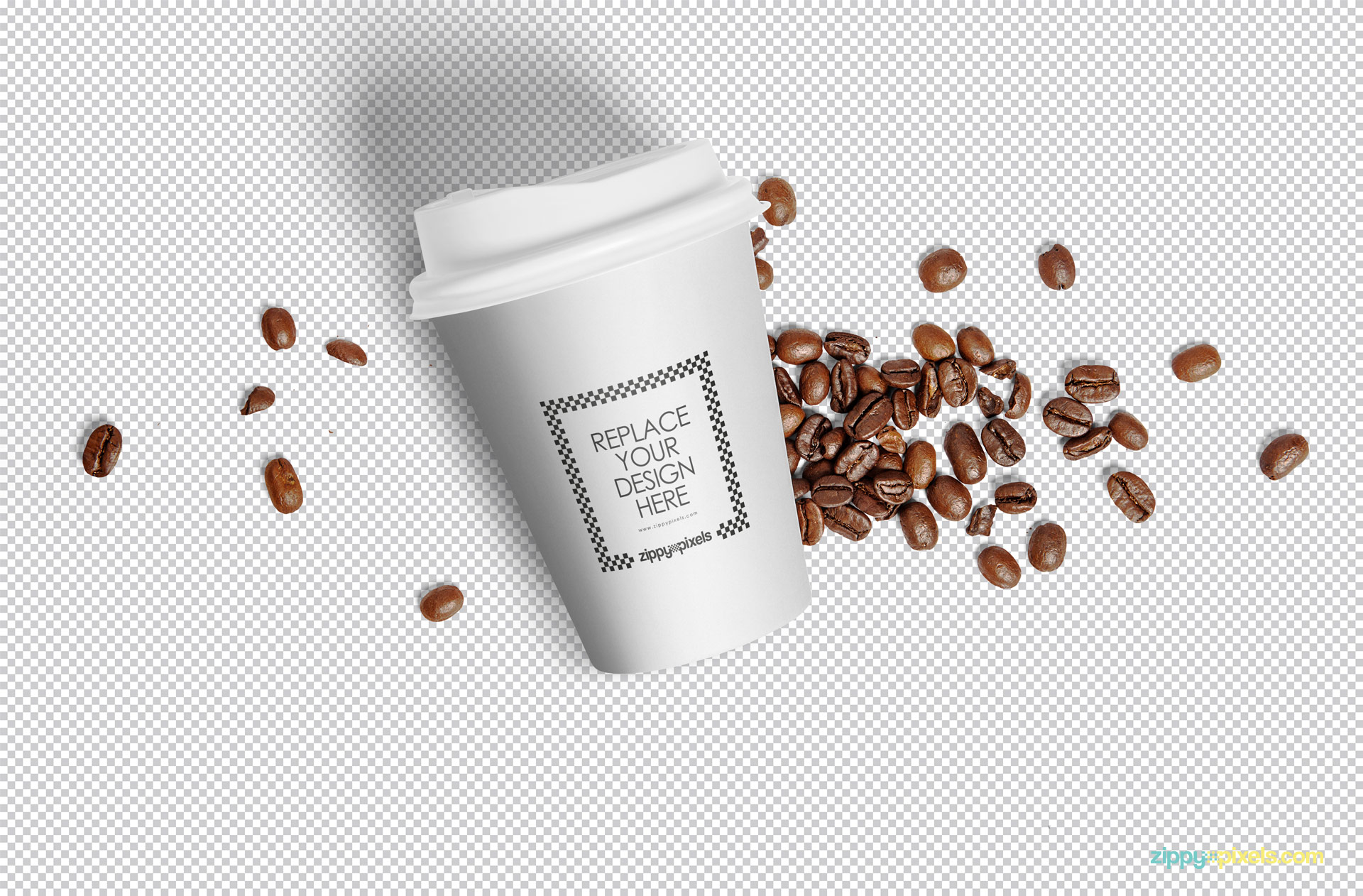 White cup and coffee beans placed on the gray-scale background.