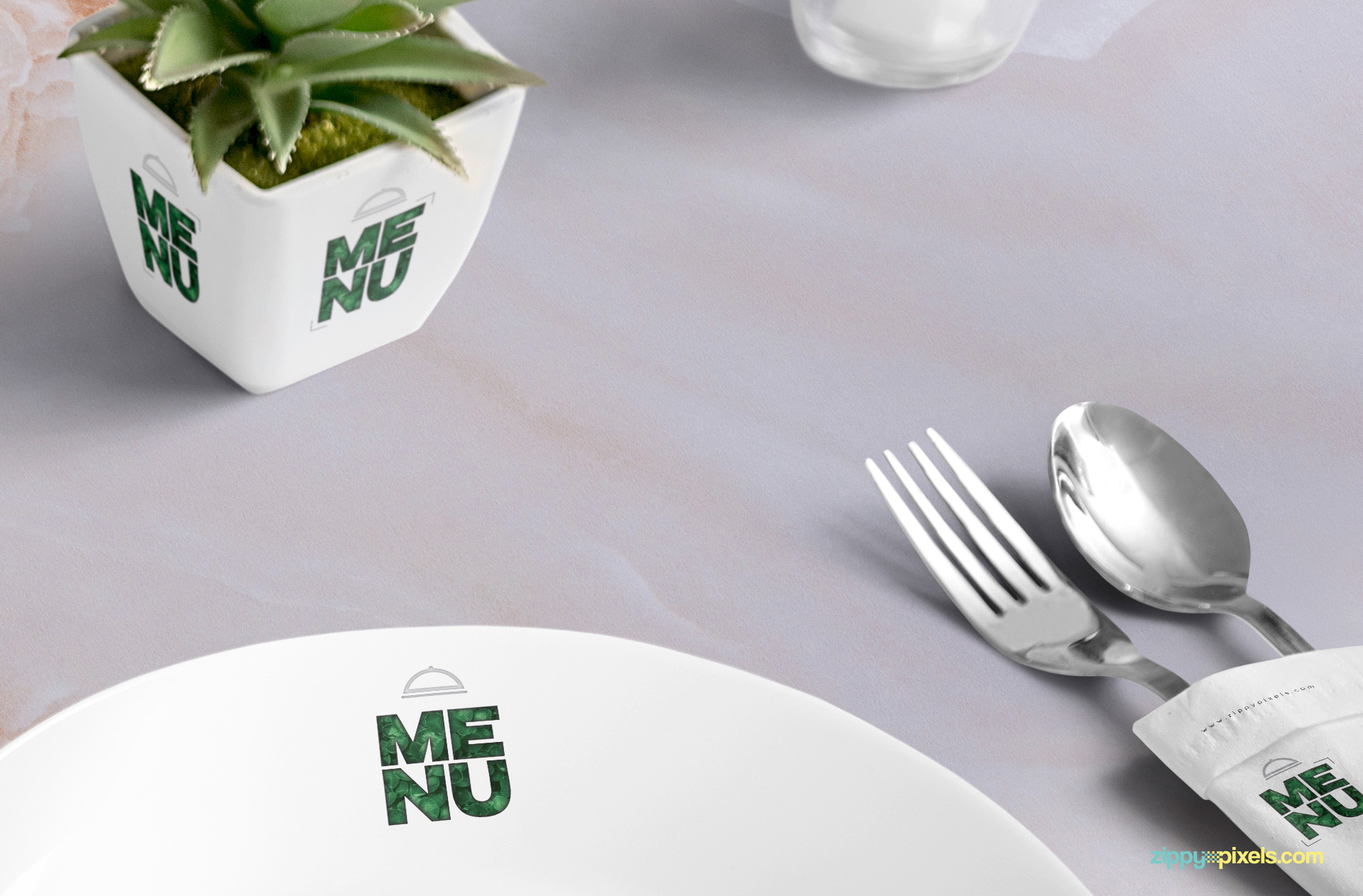 Plant pot, plate and napkin have separate smart objects for designs.