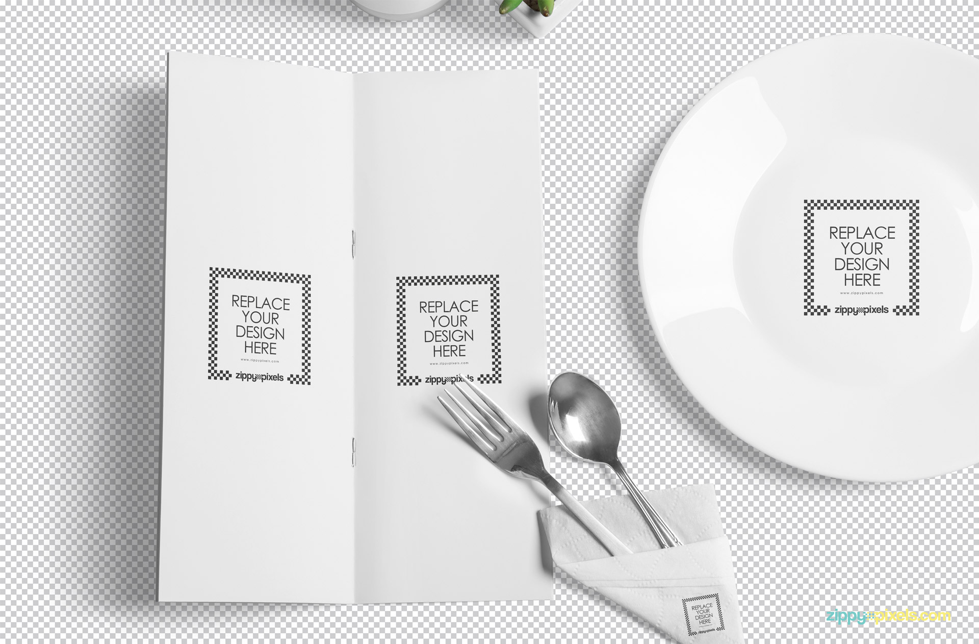 Use smart object option to replace the design of the menu mockup scene.