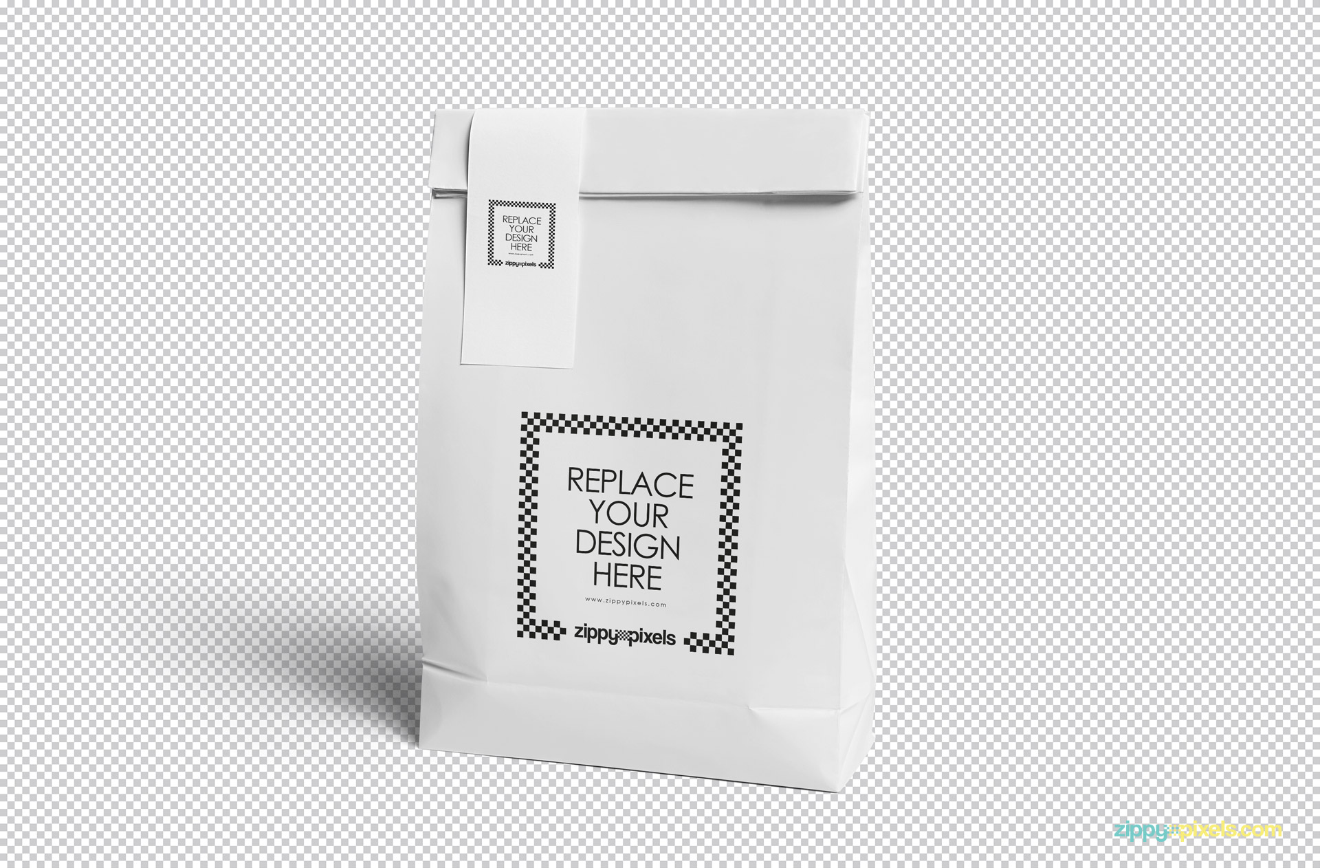 Use smart object option to replace the designs of this free shopping bag.