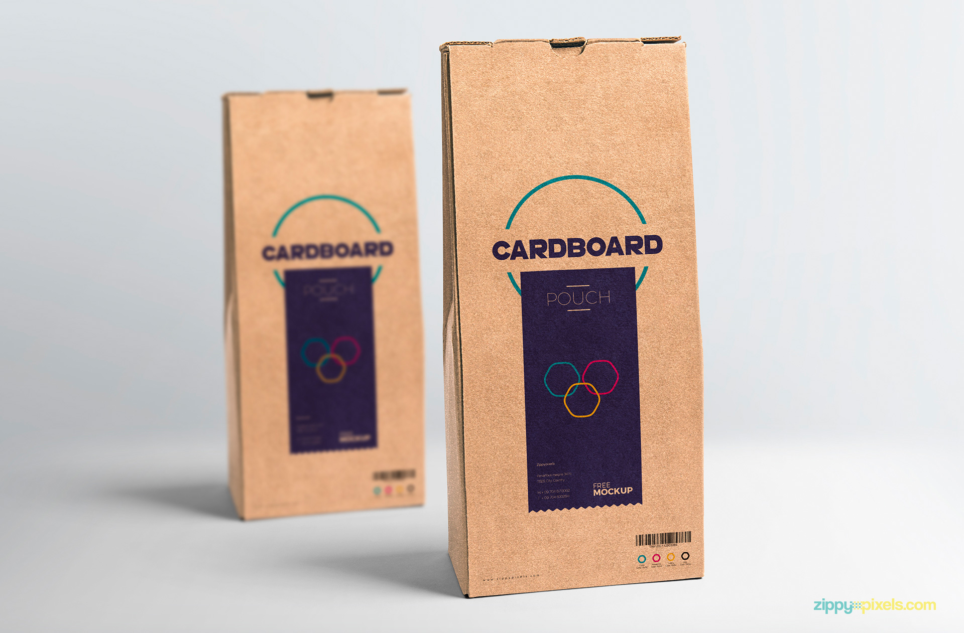 Two cardboard pouches are placed one after other.