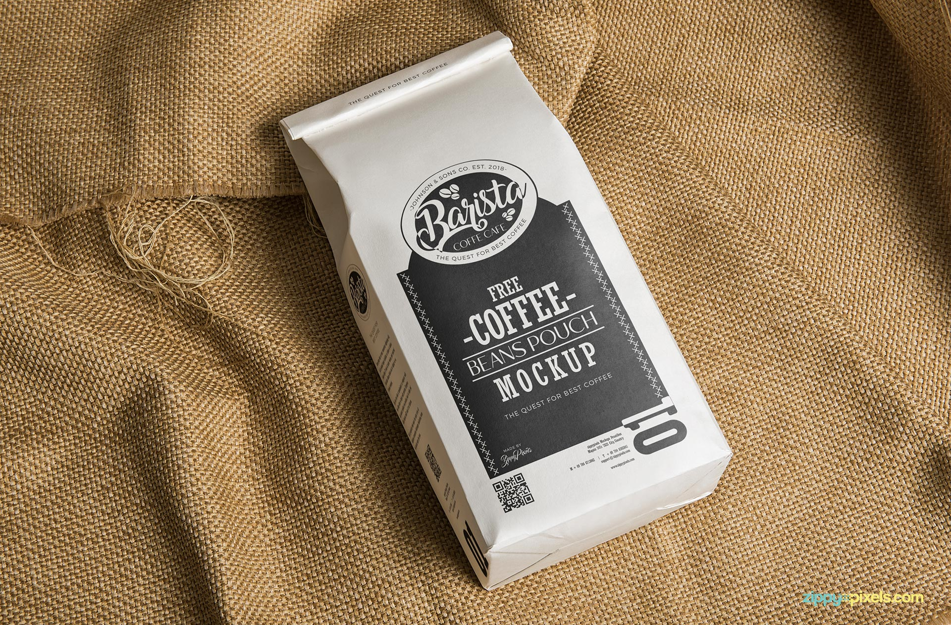 Free Classic Coffee Bag Mockup Zippypixels