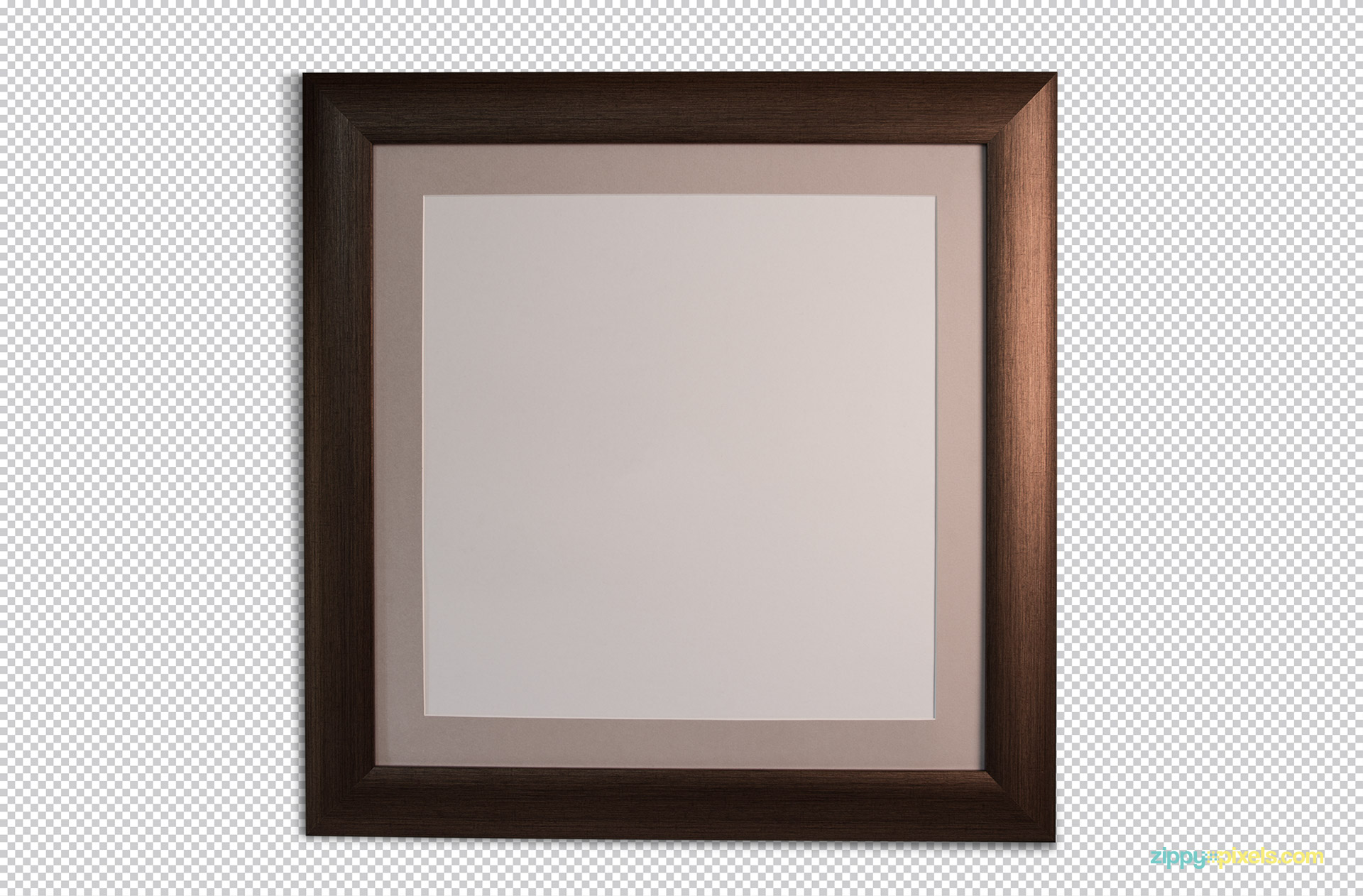 Free frame mockup with plain white background and surface.